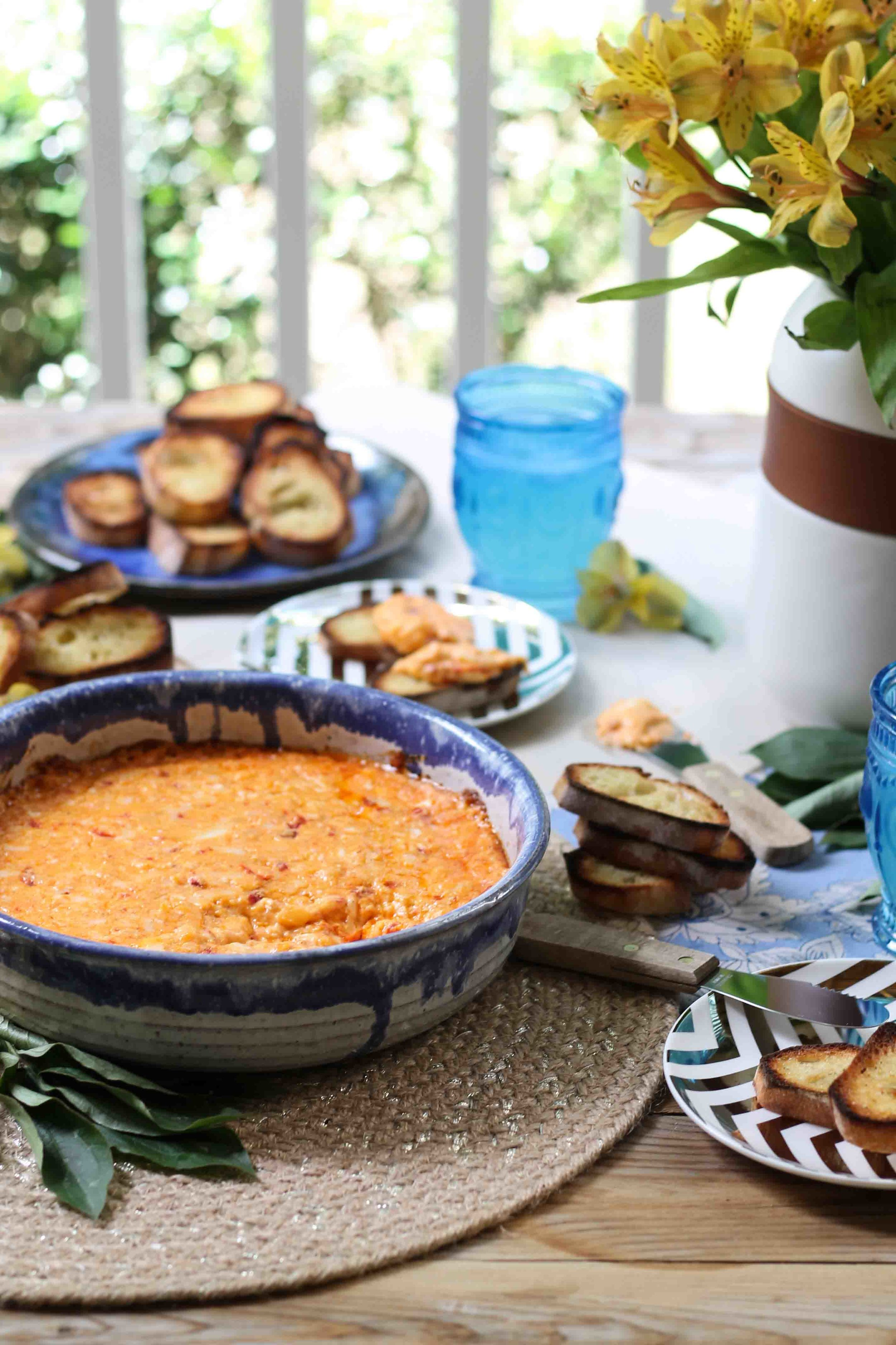 Baked Pimento Cheese with Crostini {Pedantic Foodie}