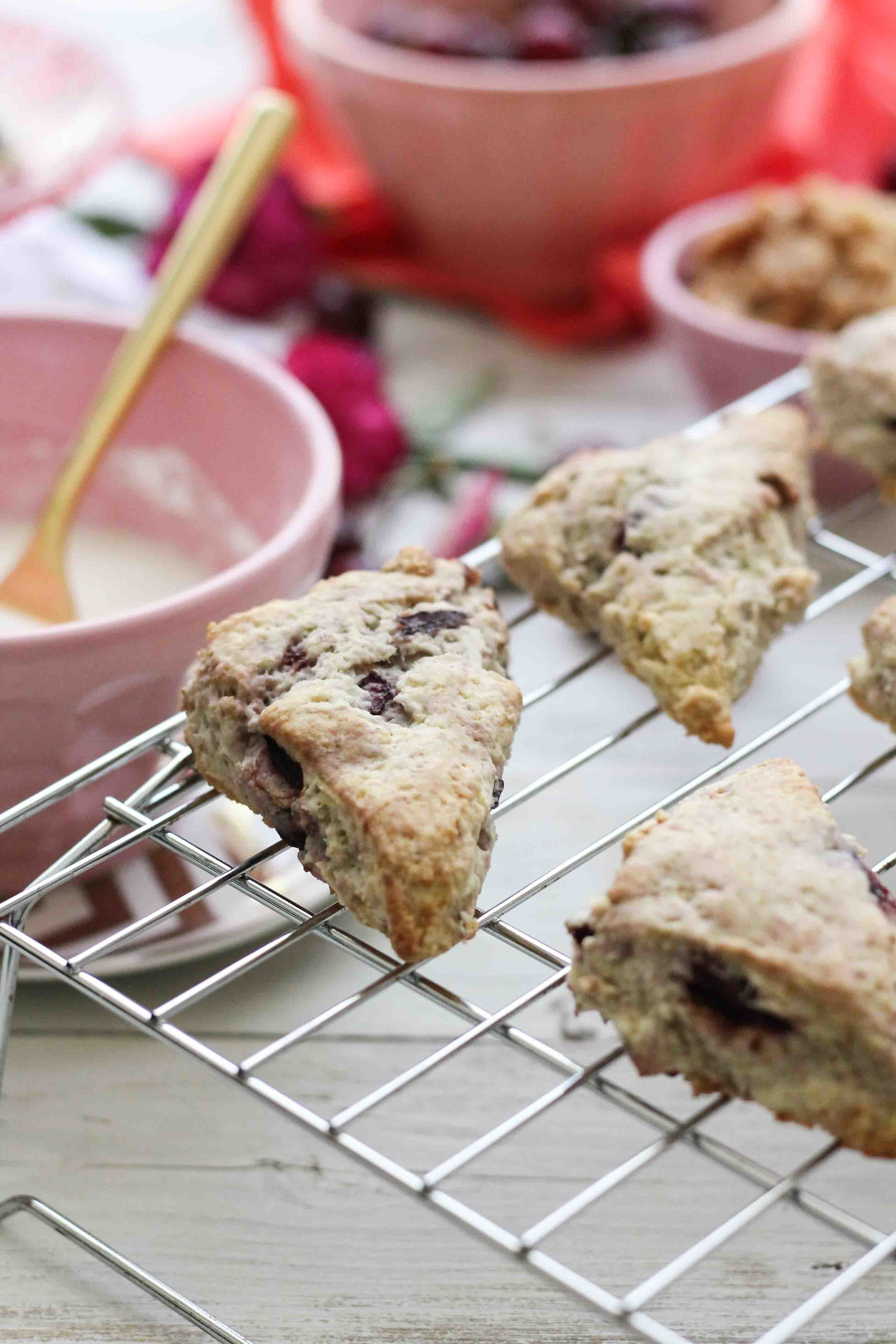 Cherry Almond Crumb Scones {Pedantic Foodie}