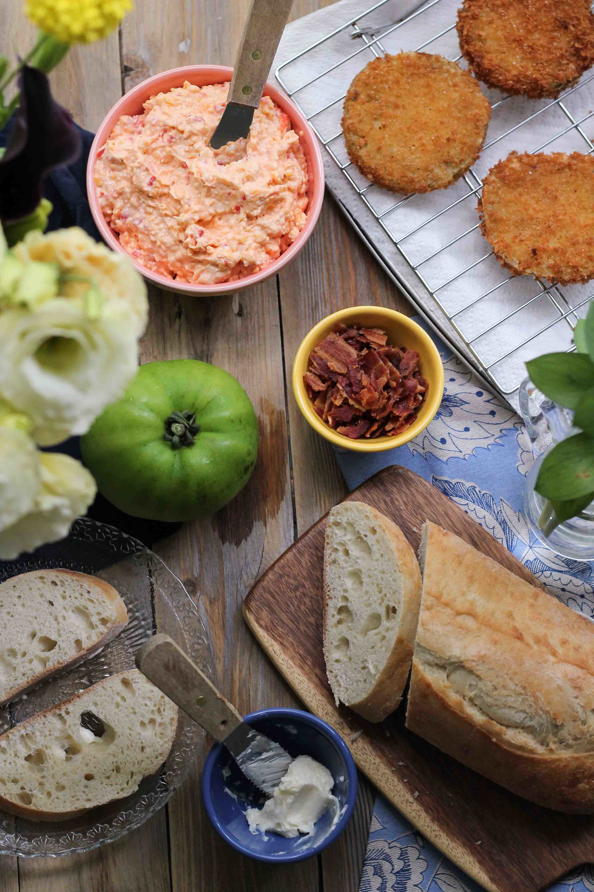 Fried Green Tomato, Bacon & Pimento Cheese Grilled Sandwiches {Pedantic Foodie}