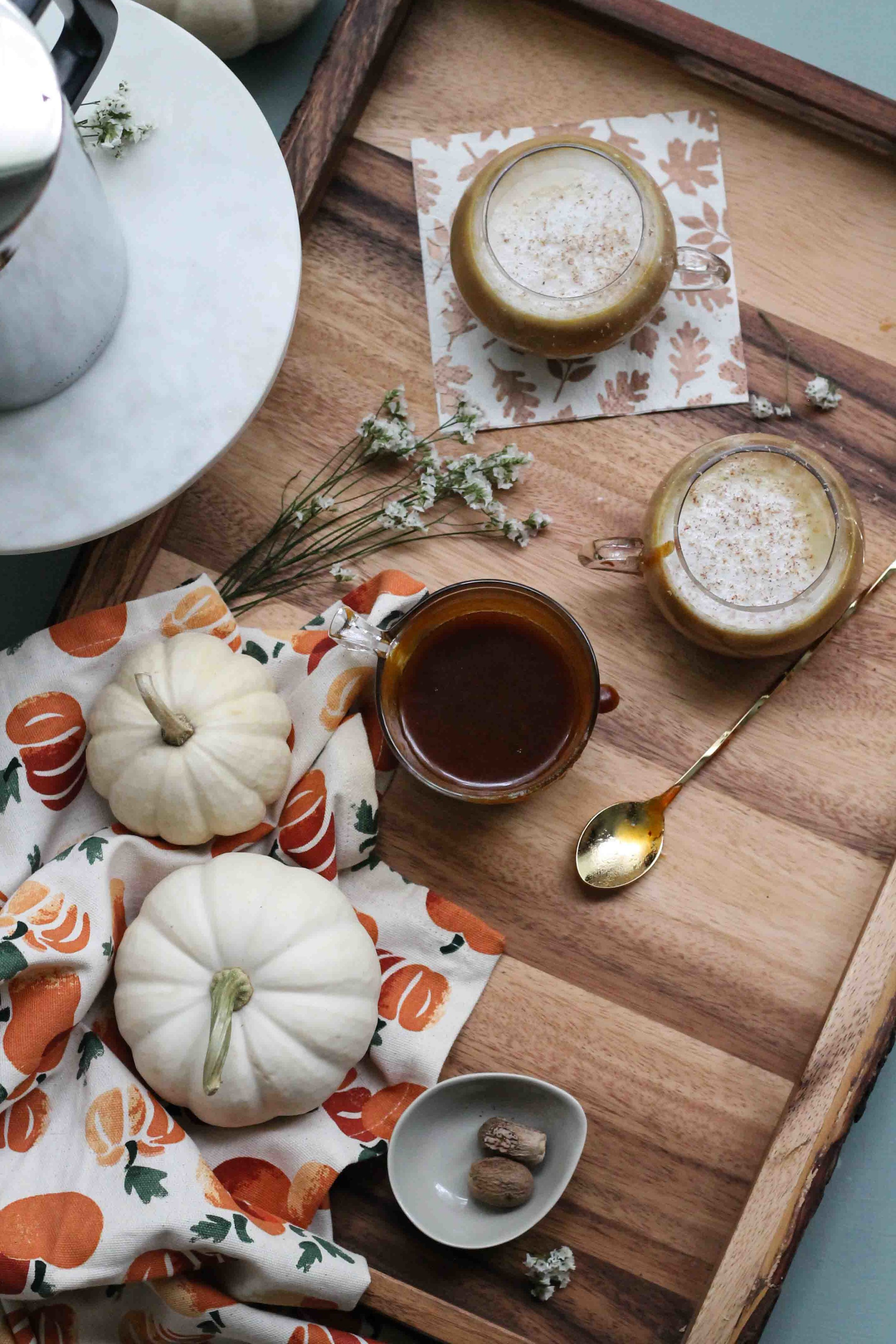 This simple at-home pumpkin latte is made with nutty almond milk and a rich, pumpkin spice caramel sauce. {Pedantic Foodie}