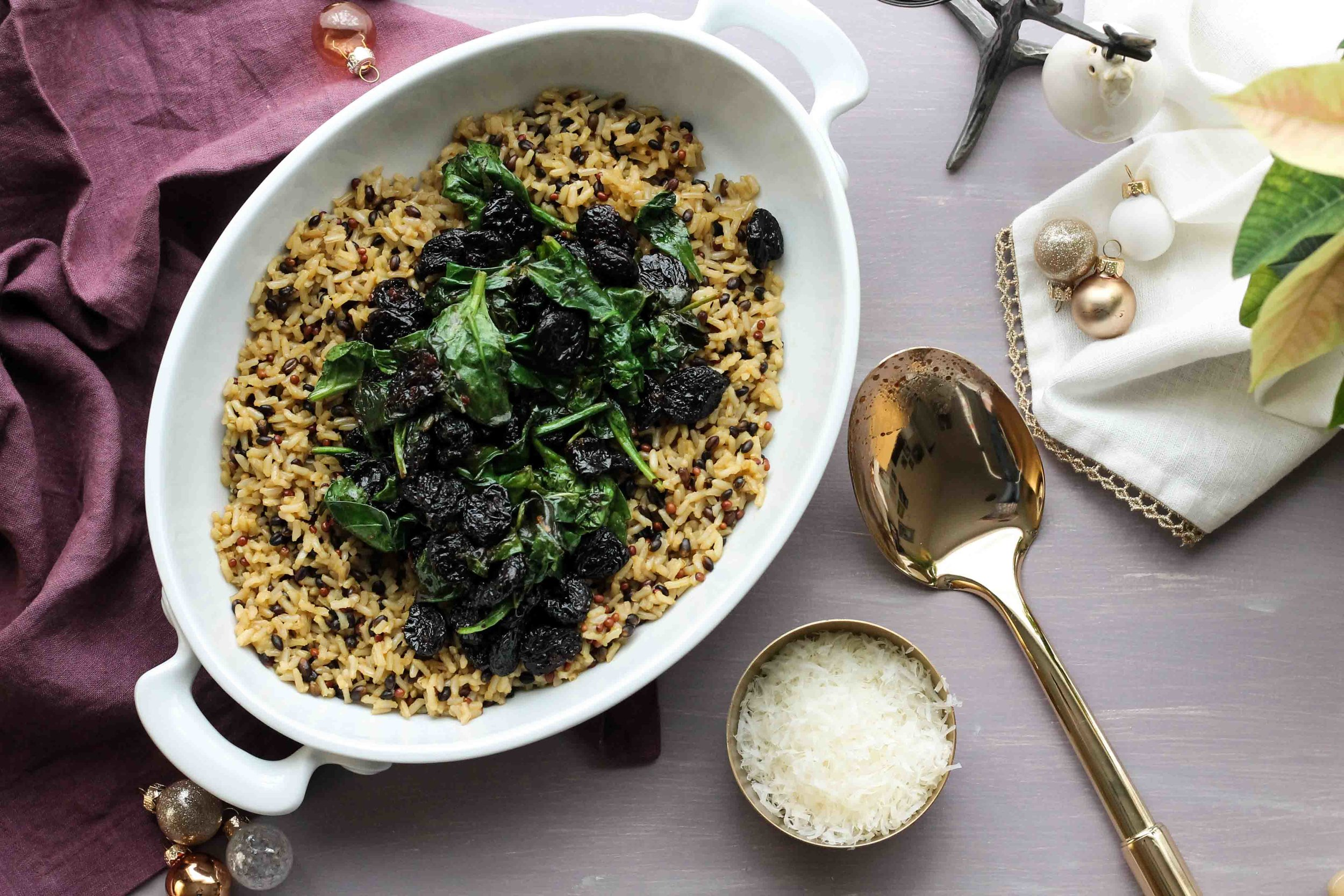 Ordinary wild rice becomes a fantastic, holiday stuffing when paired with plumped, dried cherries, spinach, truffle oil, and lots of parmesan. [pedanticfoodie.com]