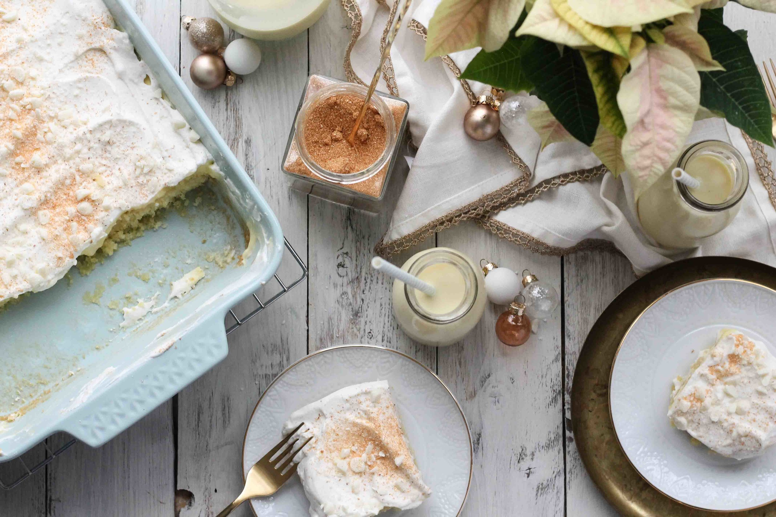 [ Eggnog Poke Cake ]  A festive new take on the classic poke cake.  www.pedanticfoodie.com