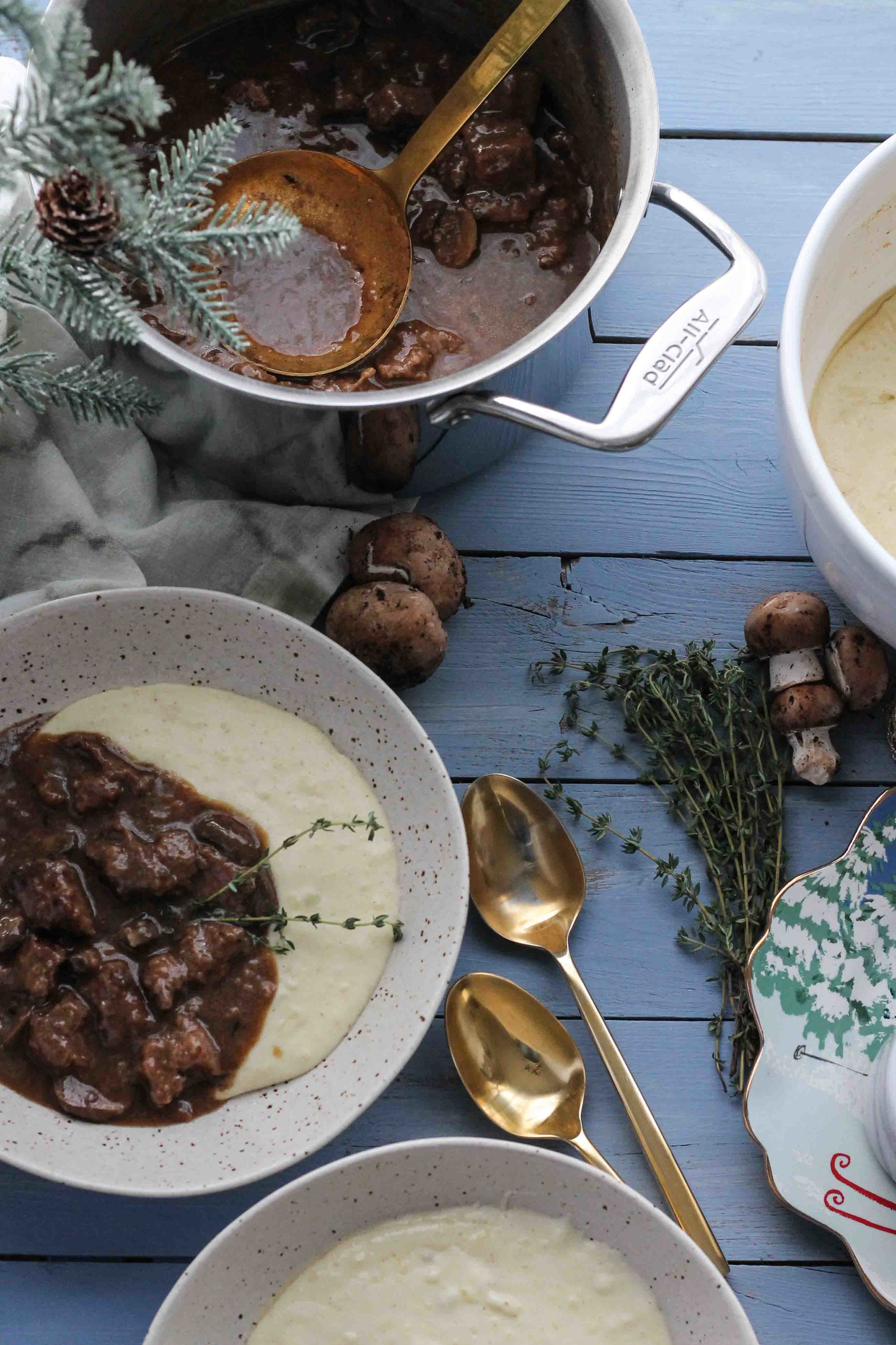Classic beef and mushroom stew becomes the perfect cozy, winter meal when ladled over a spoonful of brown butter mashed potatoes.  [www.pedanticfoodie.com]