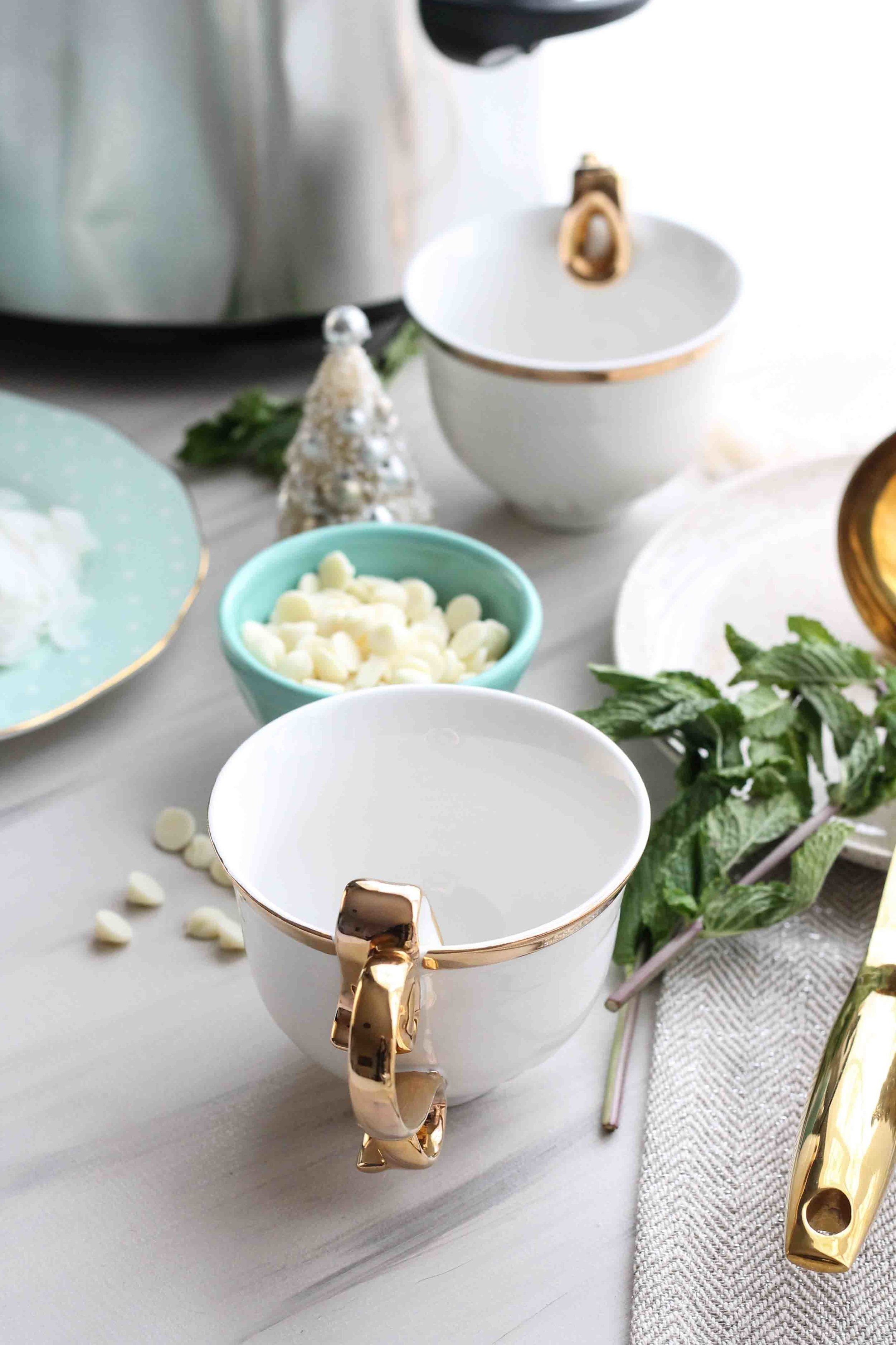 This, rich Coconut Mint White Cocoa is made in the slow-cooker and it's the perfect no-fuss snow day treat! [ www.pedanticfoodie.com ]