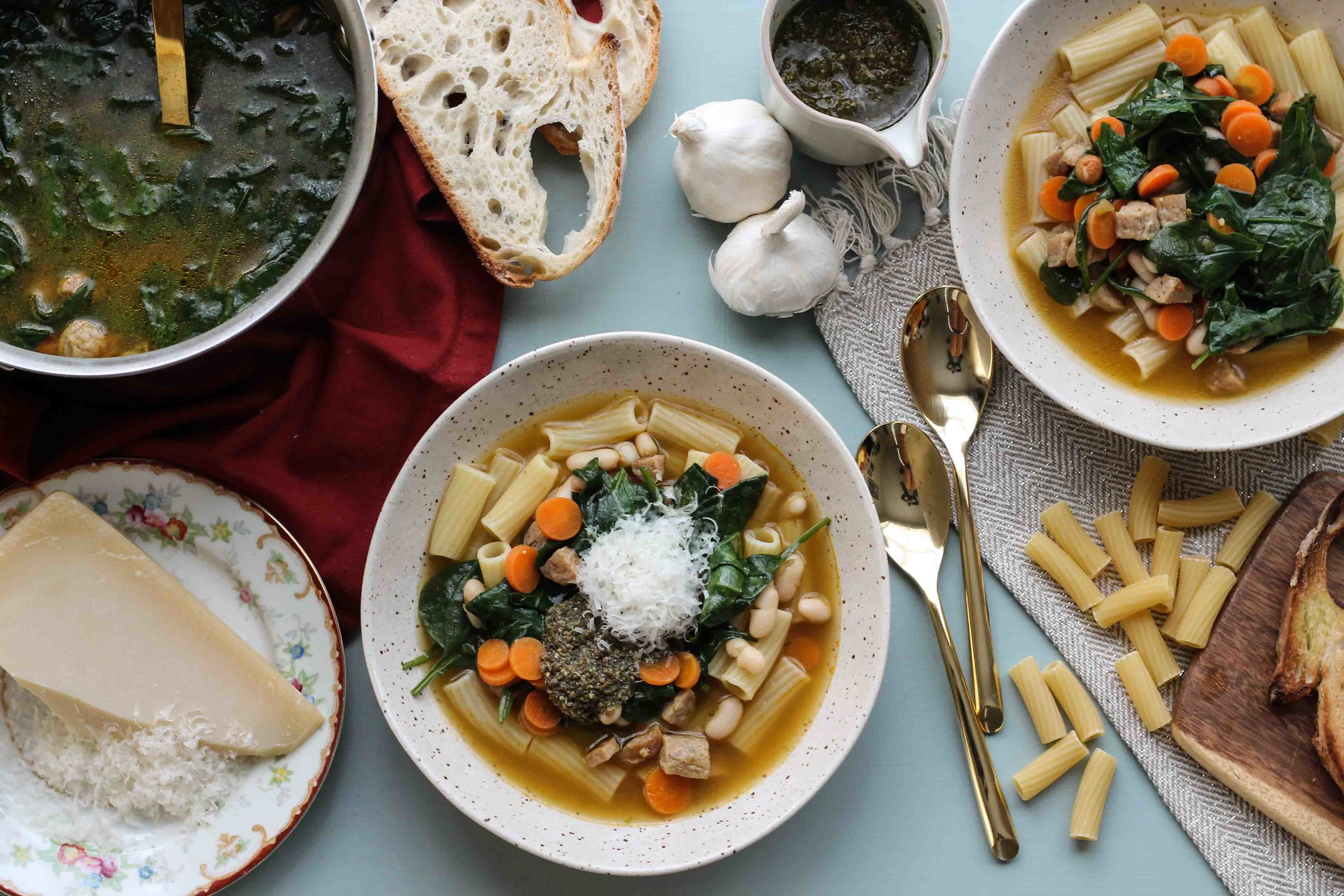 This quick and easy Italian Sausage & Pesto soup is the perfect weeknight winter meal. [ www.pedanticfoodie.com ]