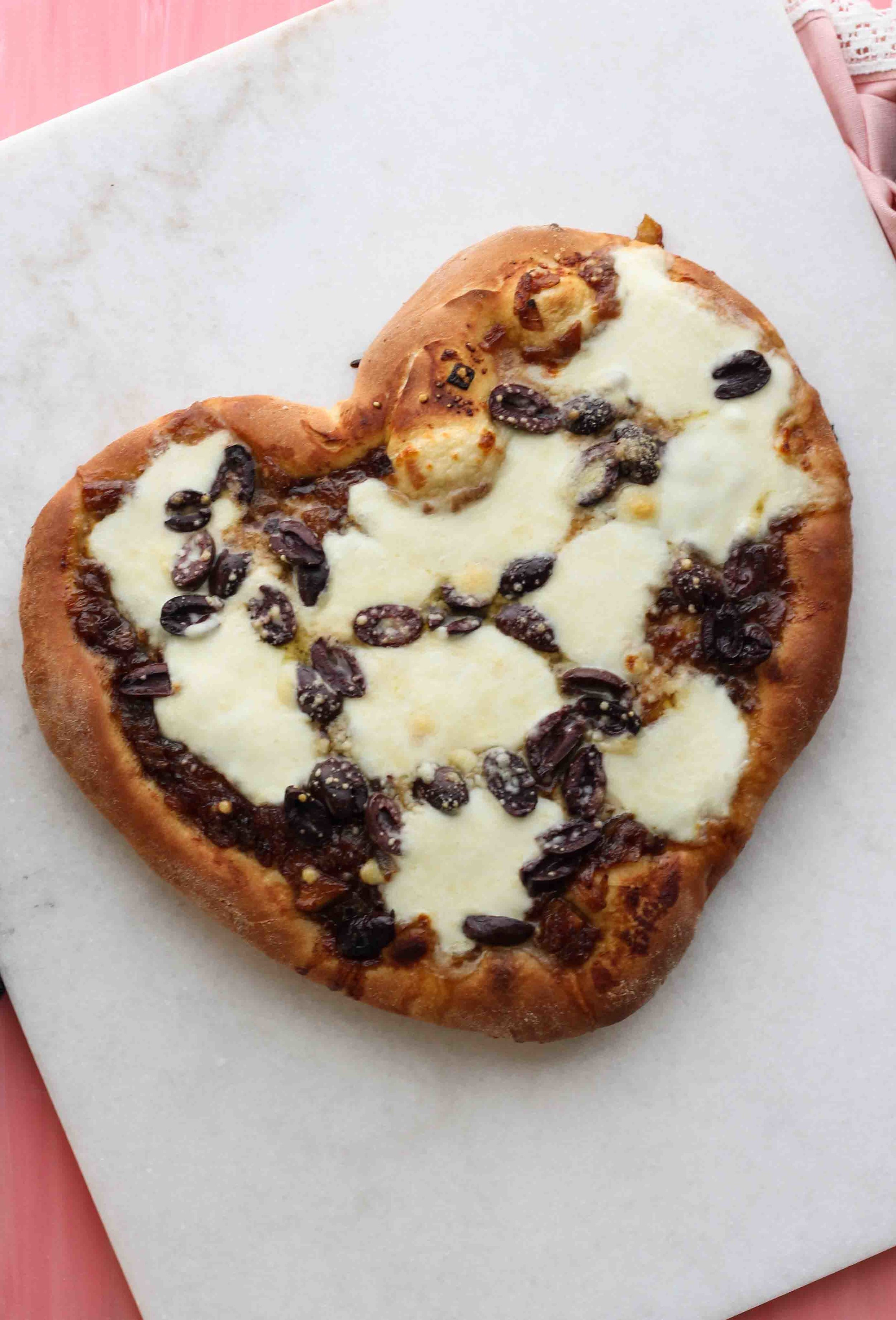 Heart-Shaped Pizza with Caramelized Onions and Kalamata Olives [ www.pedanticfoodie.com ]