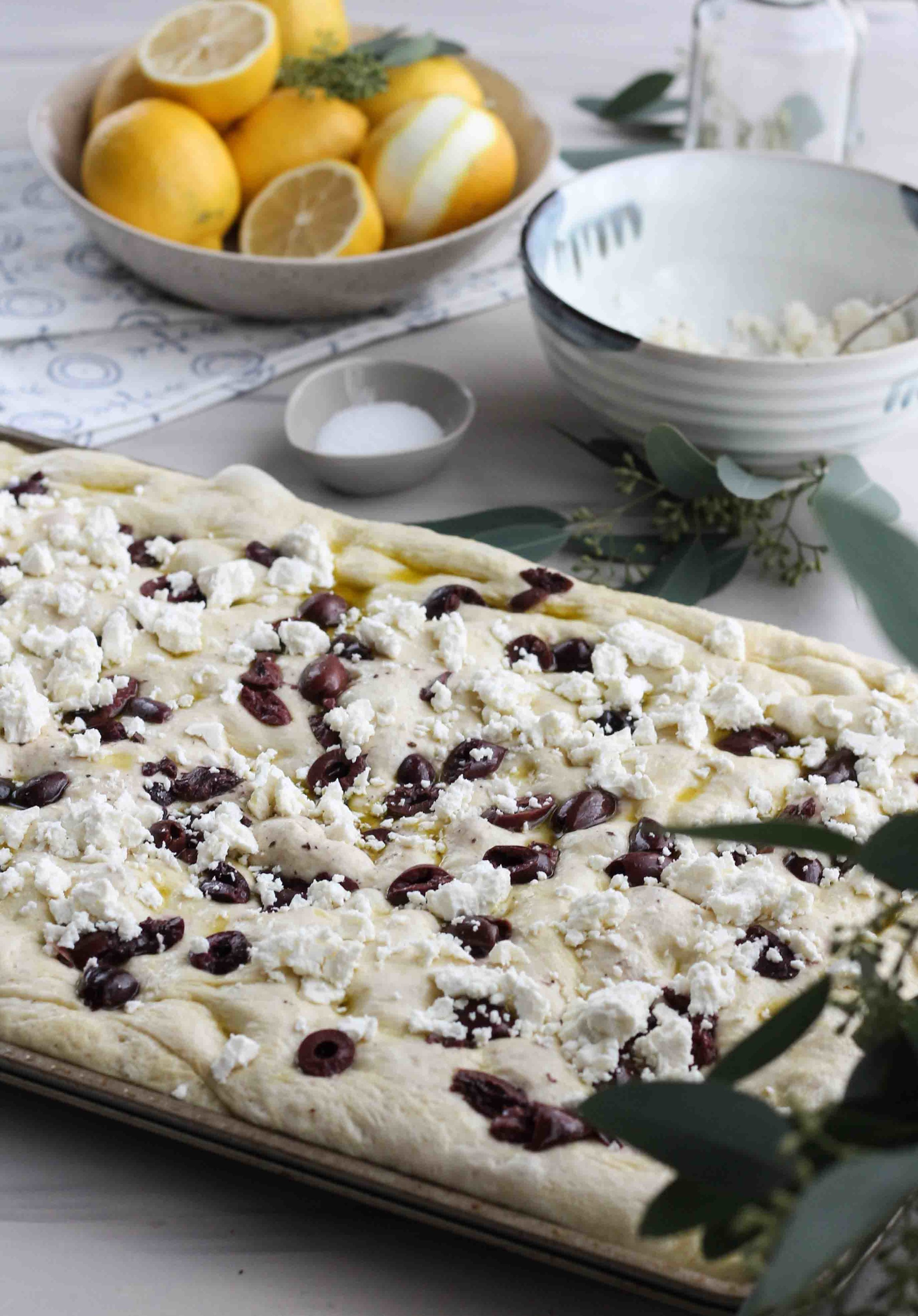 Feta & Olive Focaccia with Lemon-Infused Olive Oil [ www.pedanticfoodie.com ]