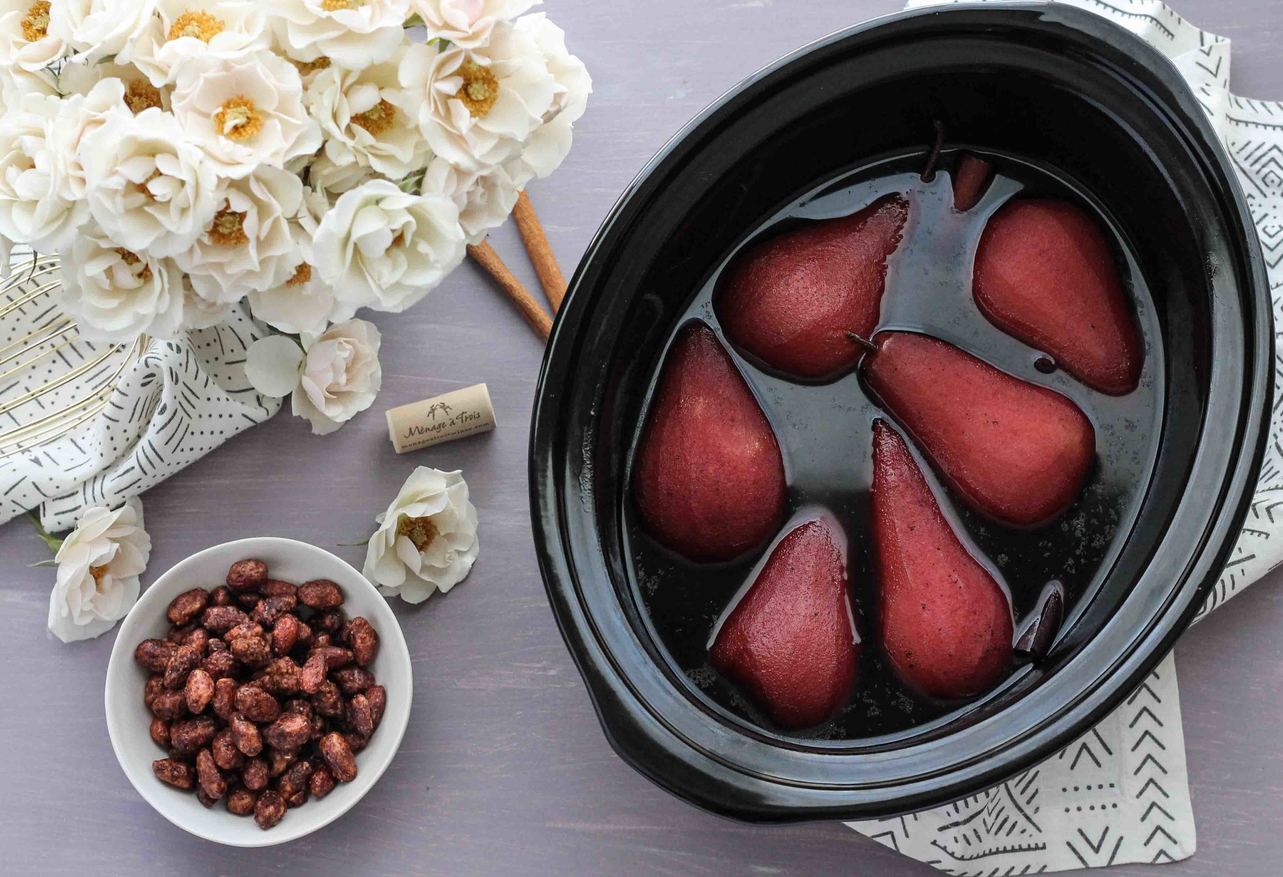 Slow Cooker Vanilla-Spiced Wine Poached Pears with Cost Plus World Market [ www.pedanticfoodie.com] #sponsored