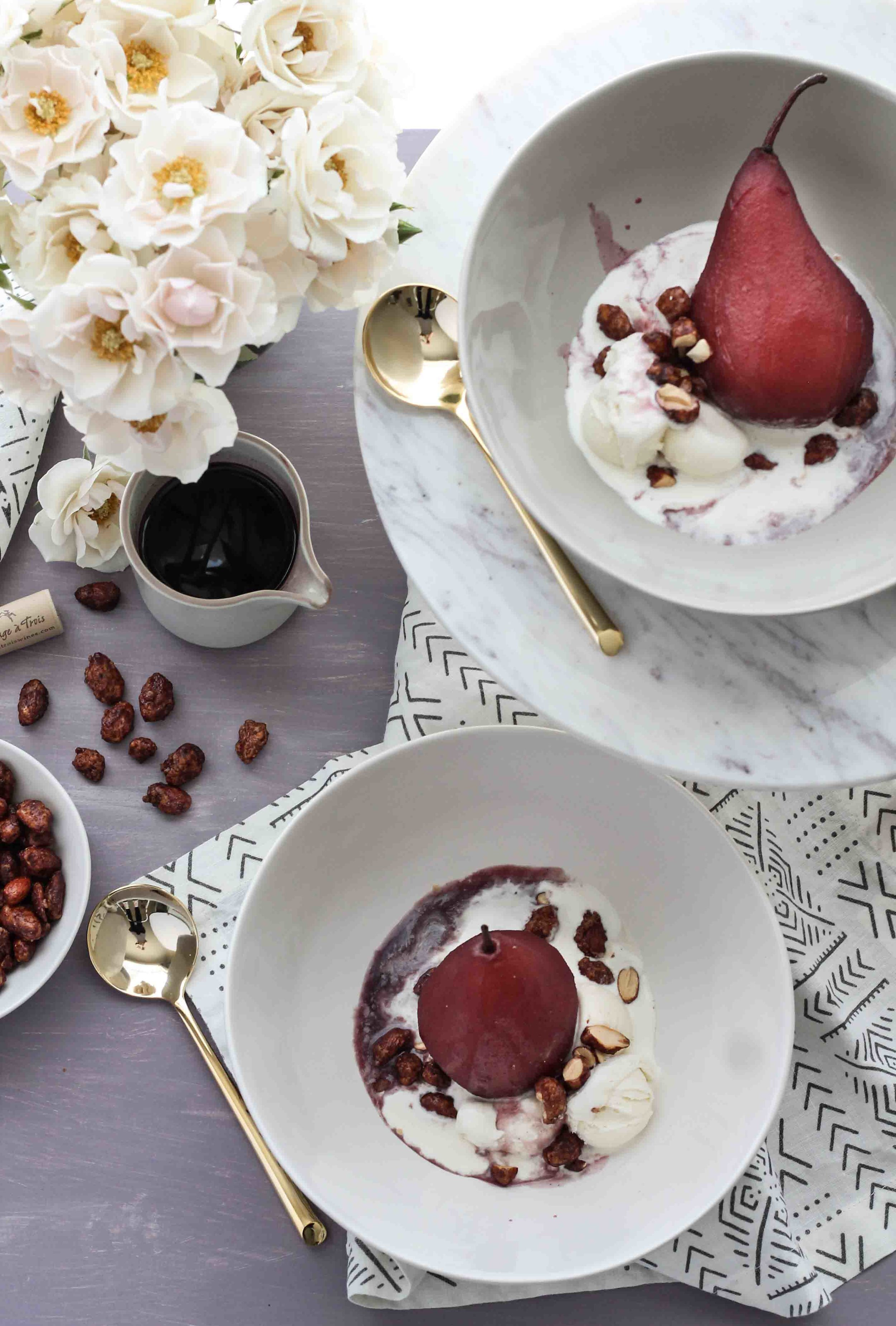 Slow Cooker Vanilla-Spiced Wine Poached Pears with Cost Plus World Market [ www.pedanticfoodie.com ] #sponsored