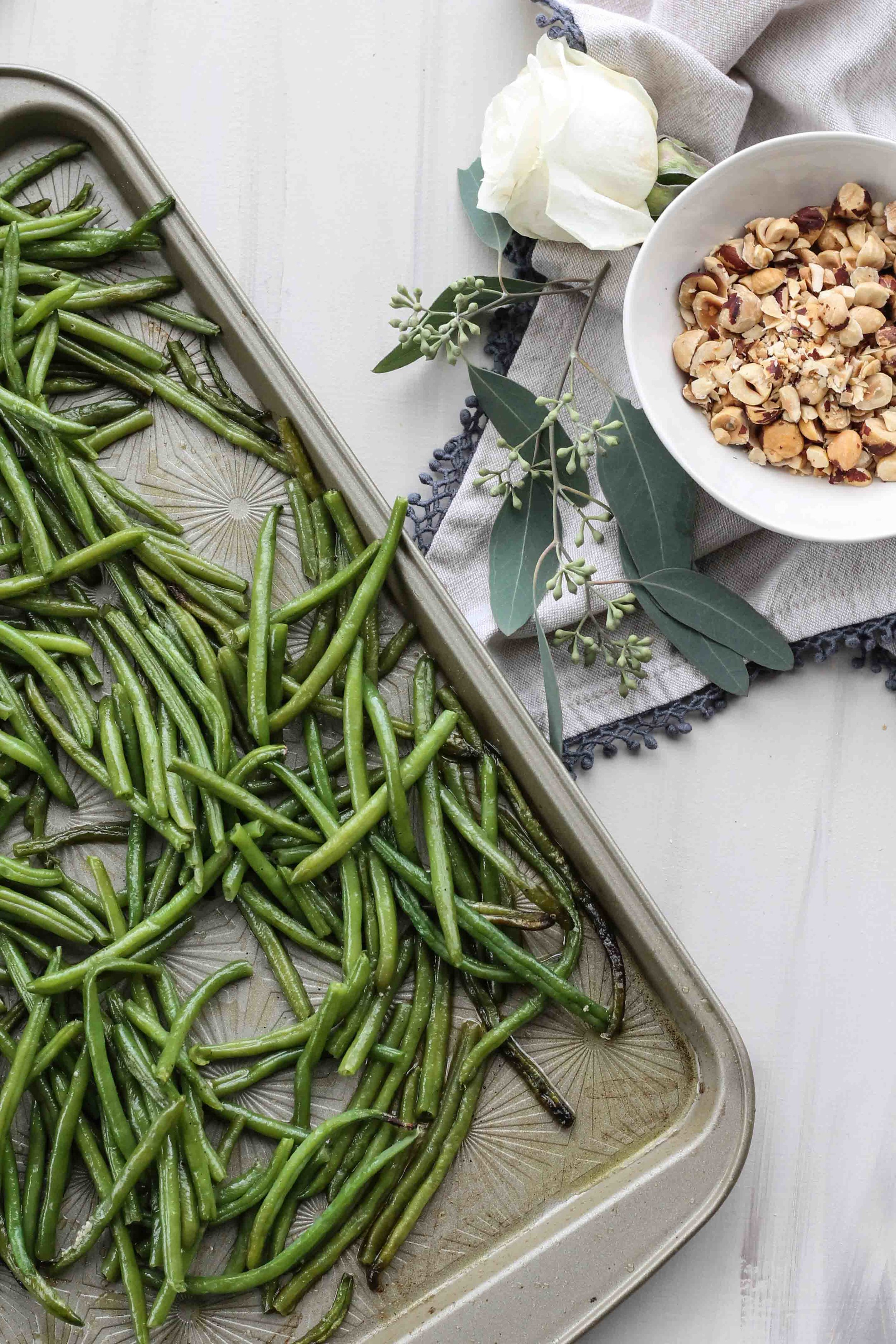 Haricot Vert with Roasted Garlic Chèvre & Toasted Hazelnuts [www.pedanticfoodie.com]