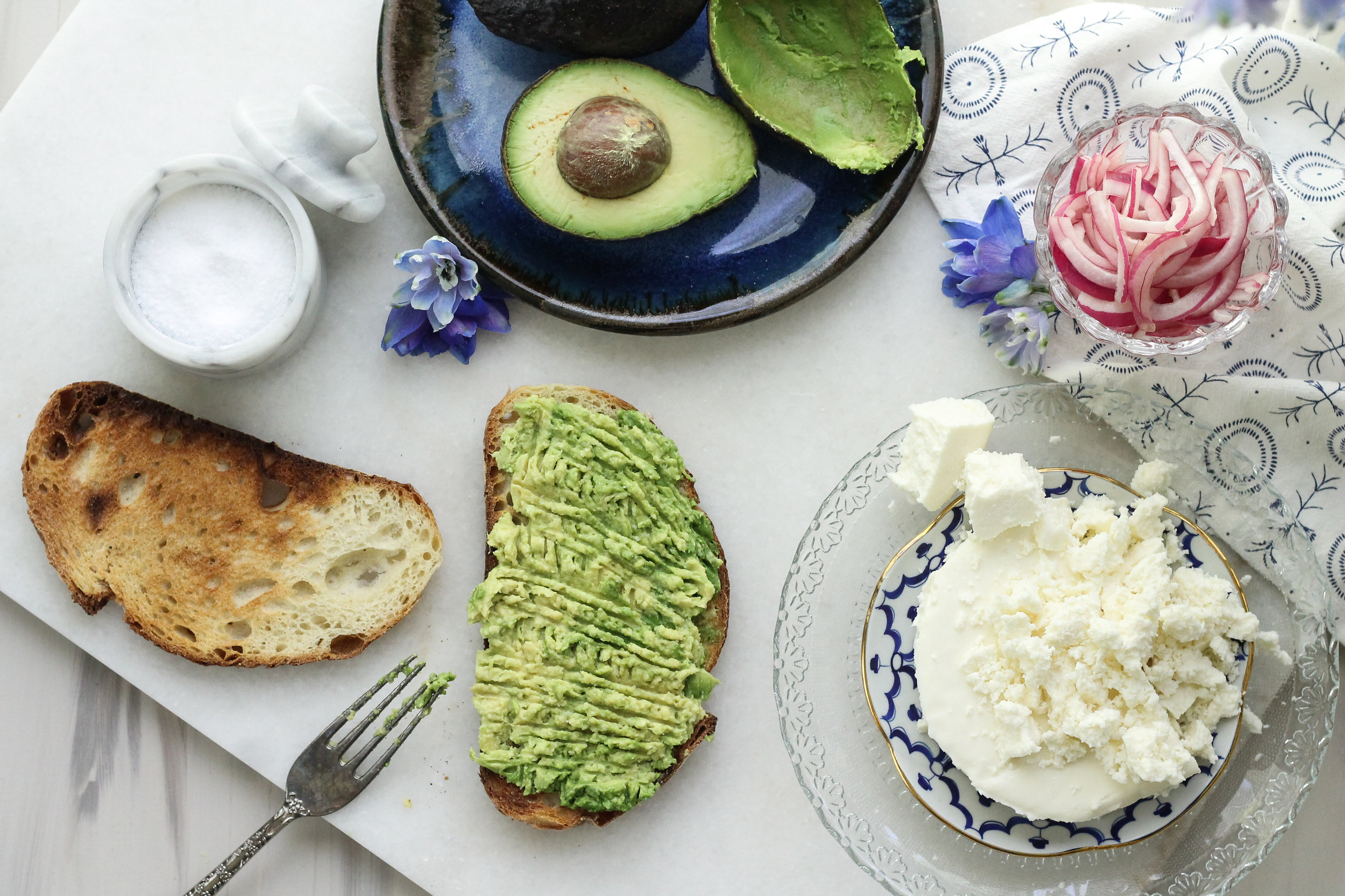Avocado Toast with Queso Fresco & Pickled Onions [ WWW.PEDANTICFOODIE.COM ]