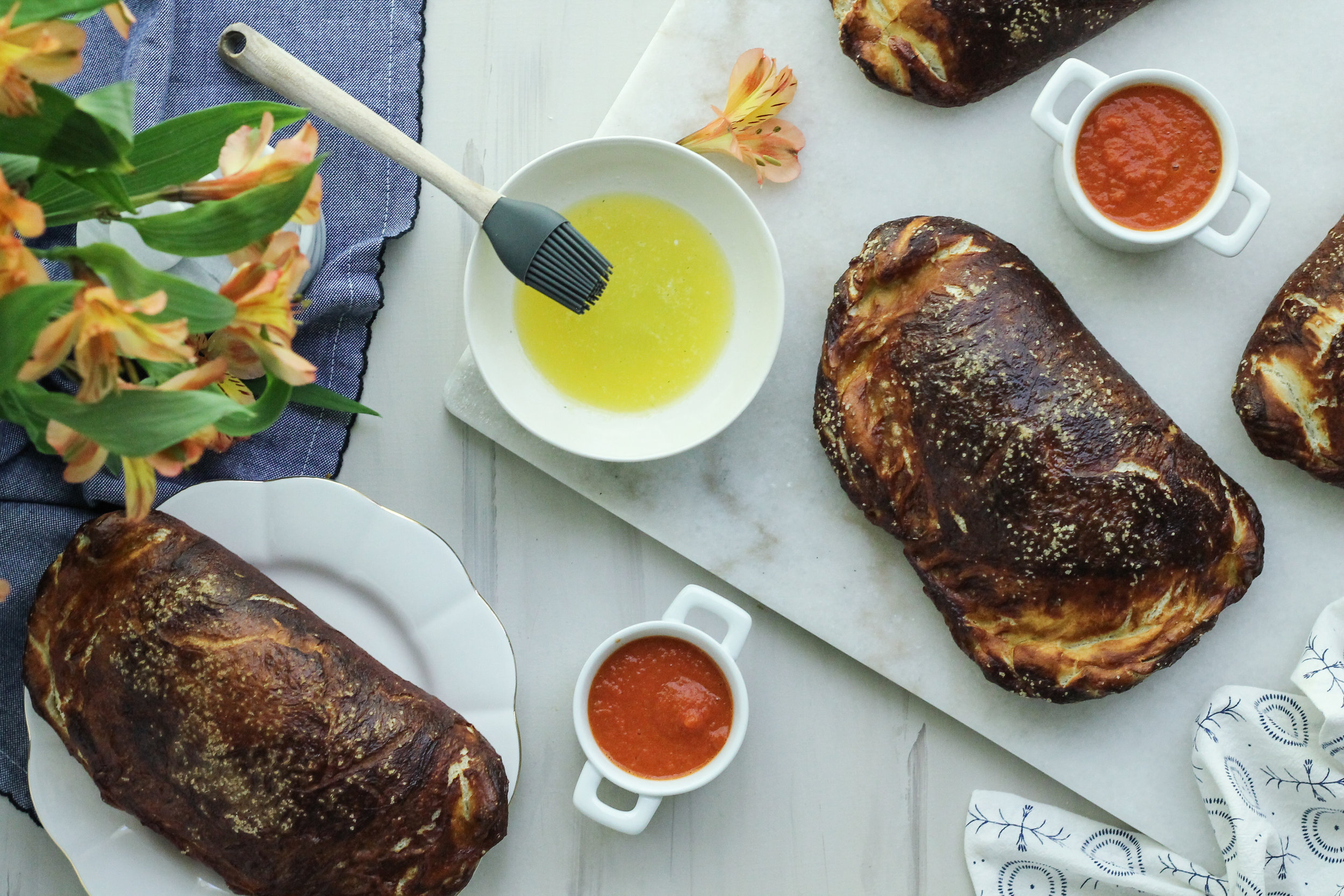 These pretzel calzones are quick, easy, and sure to please the whole family! [ www.pedanticfoodie.com ]
