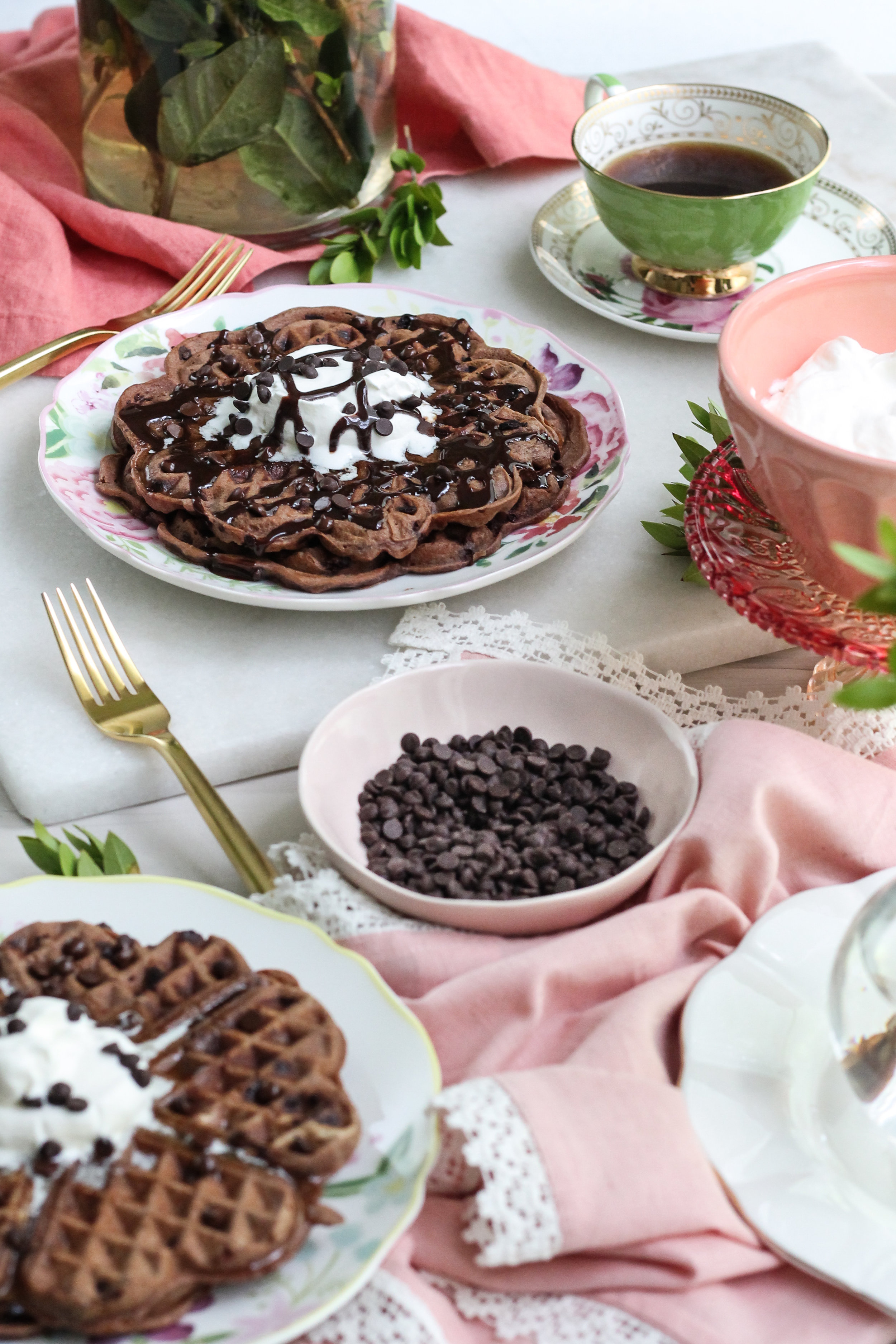 These waffles get a double dose of chocolate and make the perfect, indulgent weekend breakfast! [ www.pedanticfoodie.com ]