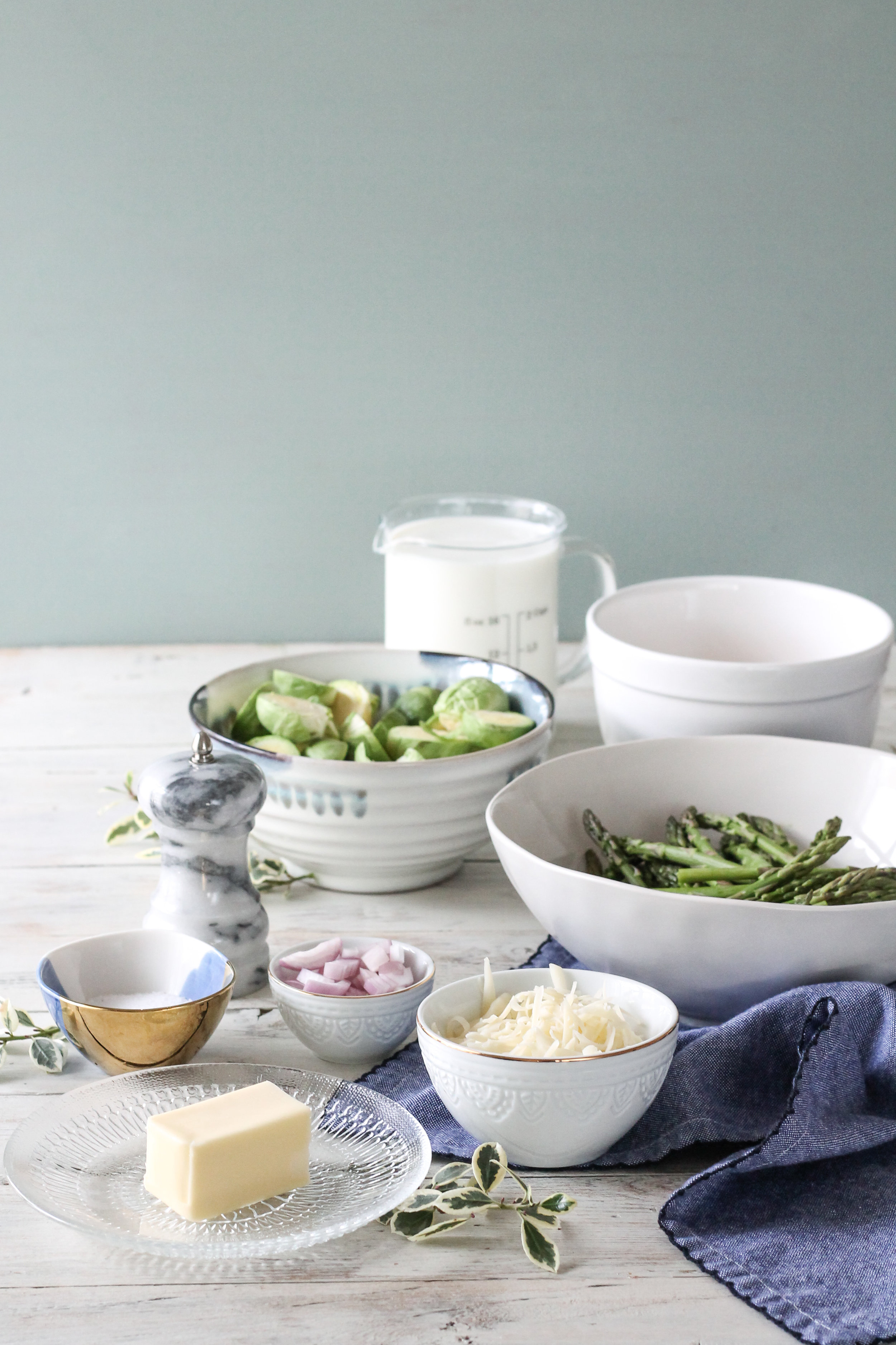 Creamy Baked Brussel Spouts and Asparagus makes the perfect holiday side dish! [ www.pedanticfoodie.com ]