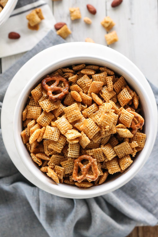Sweet & Salty Caramel Chex Mix [ www.pedanticfoodie.com ]
