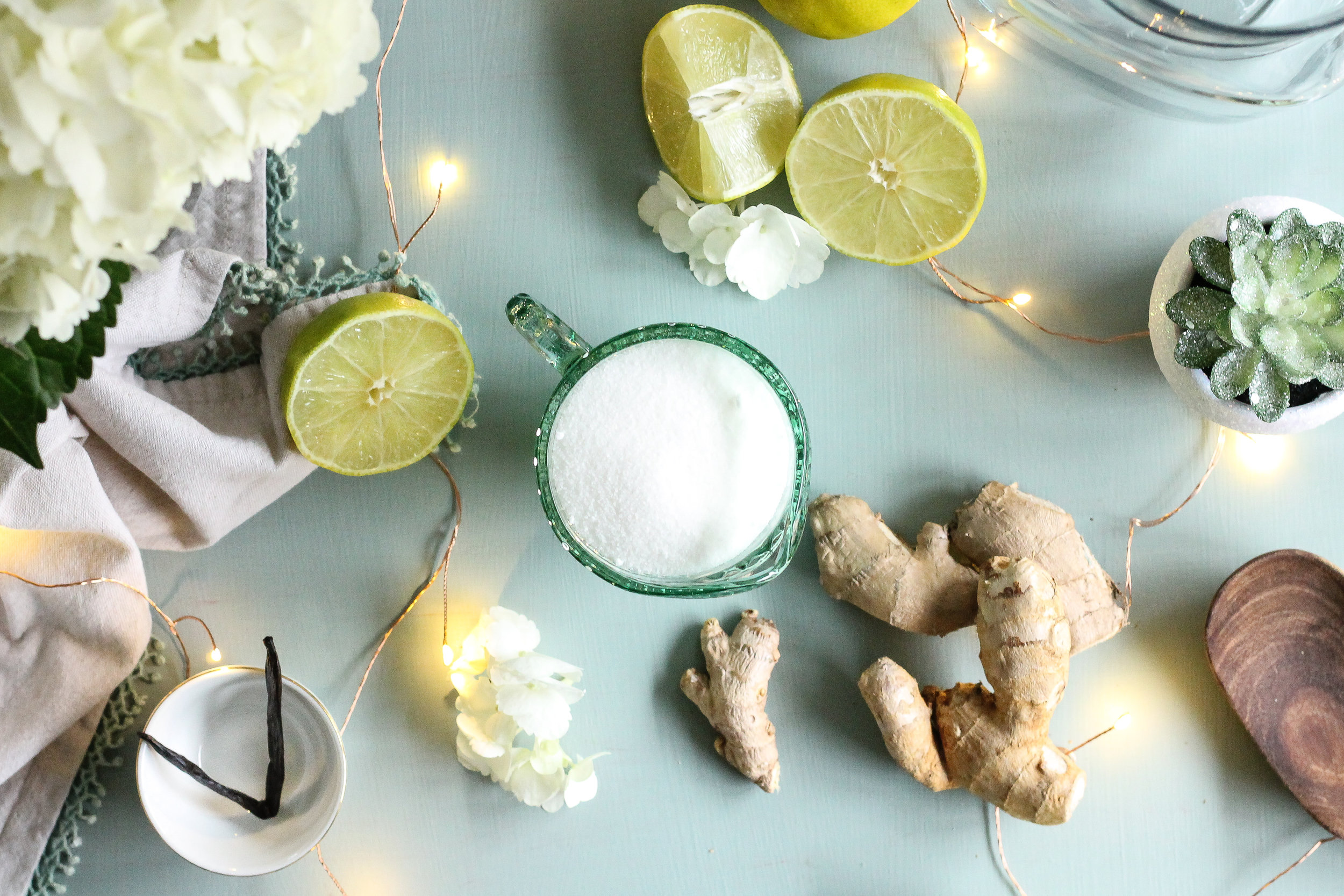 Look no further for your winter tonic!!  This Vanilla-Lime Ginger Ale is a taste of winter with spicy fresh ginger, sweet vanilla bean, and bright citrus!  Find the recipe on www.pedanticfoodie.com!