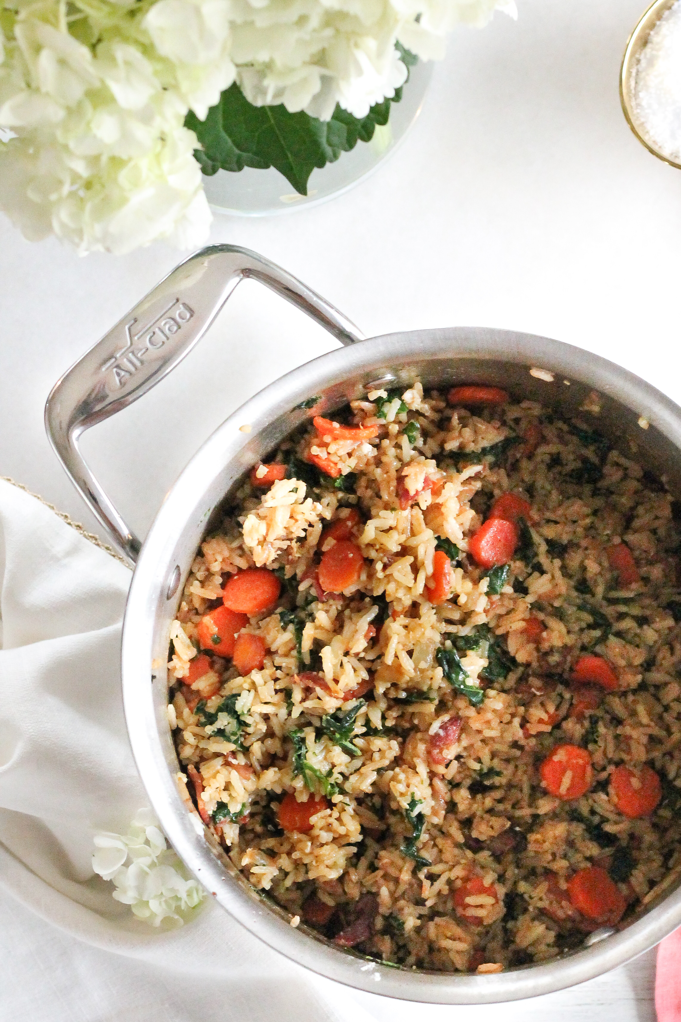 Bacon & Kale Fried Rice makes the perfect easy, weeknight meal!  Find the recipe on www.pedanticfoodie.com!