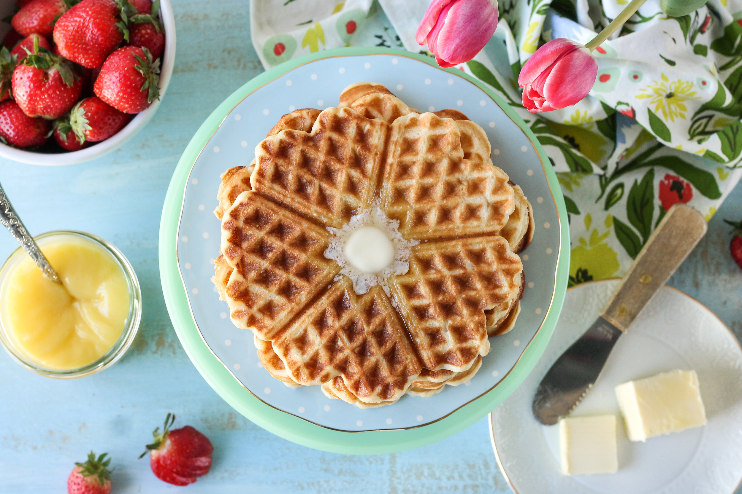No syrup needed!!  Your new go-to waffle recipe for the perfect, everyday waffle!  Find the super simple recipe on WWW.PEDANTICFOODIE.COM!