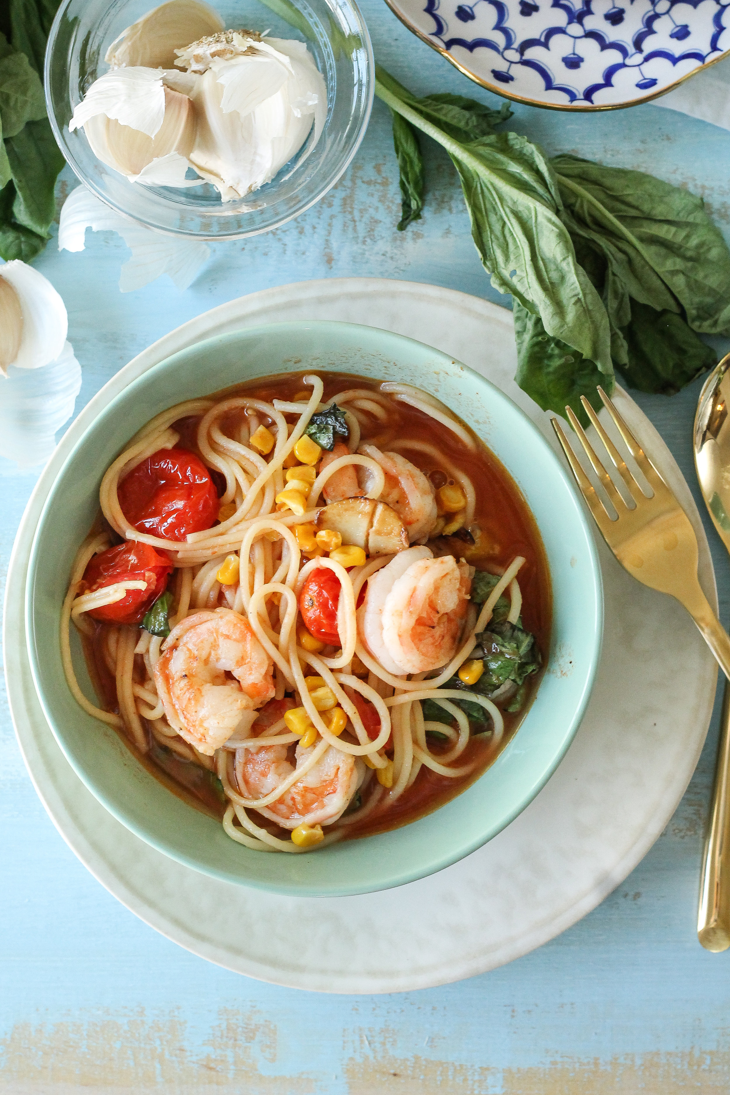 My twist on Summer Spaghetti features all of my favorite summer flavors!  Fresh tomatoes, roasted sweet corn, fresh basil, and spicy Old Bay seasoning make this dish a bowl of heaven!  [ WWW.PEDANTICFOODIE.COM ]