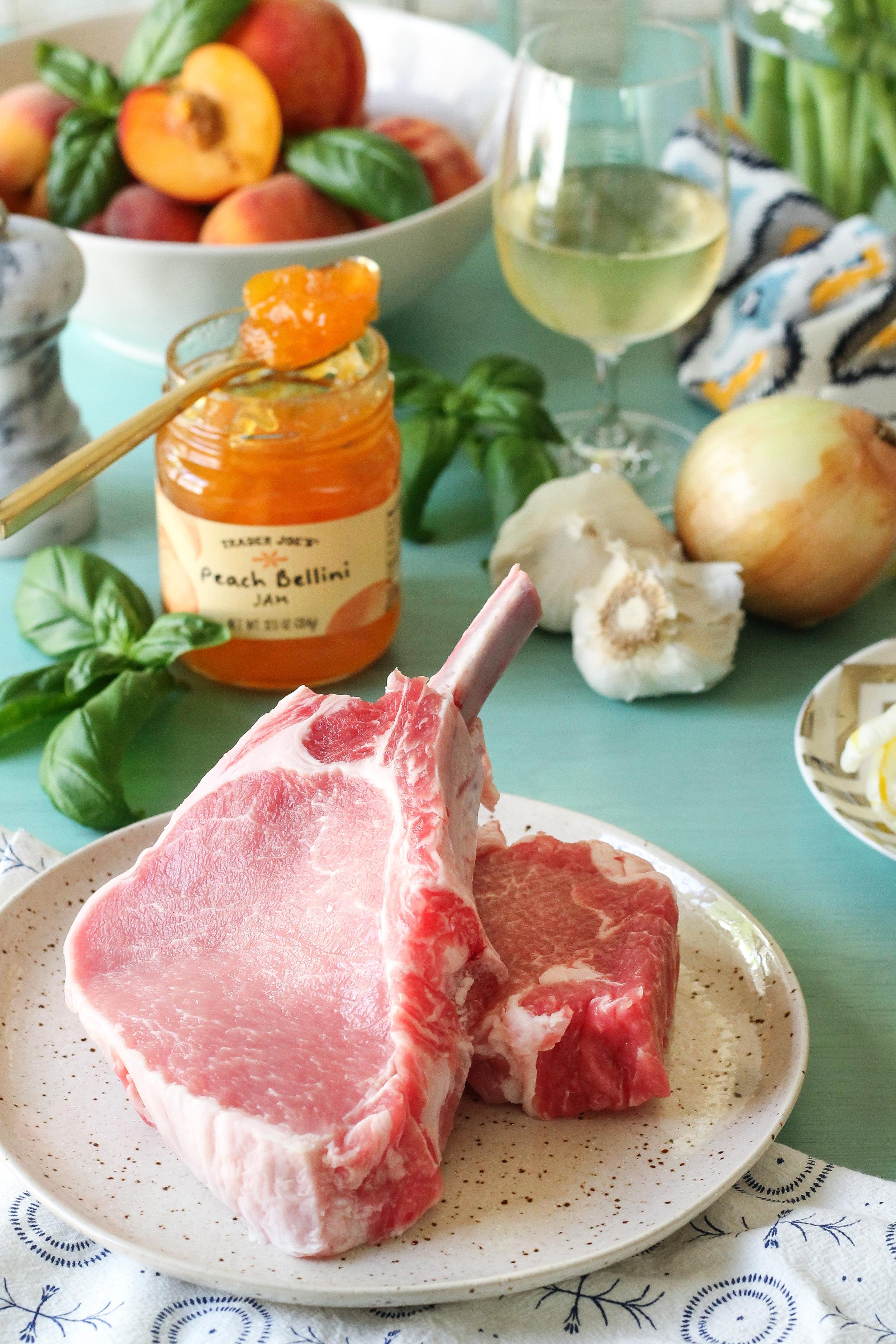 FRESH PEACH & BASIL PORK CHOPS — Pedantic Foodie