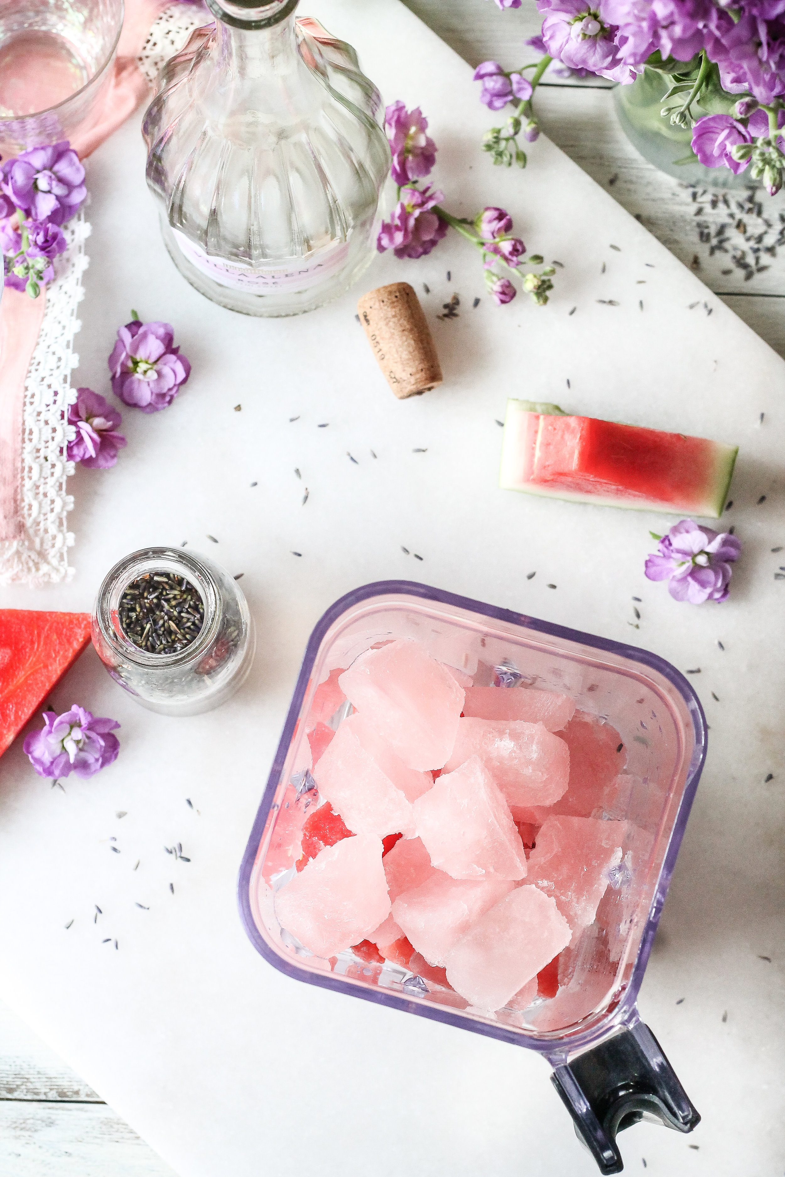 This 5-ingredient Watermelon Lavender Frosé is the perfect way to cool off this summer!  [ www.pedanticfoodie.com ]