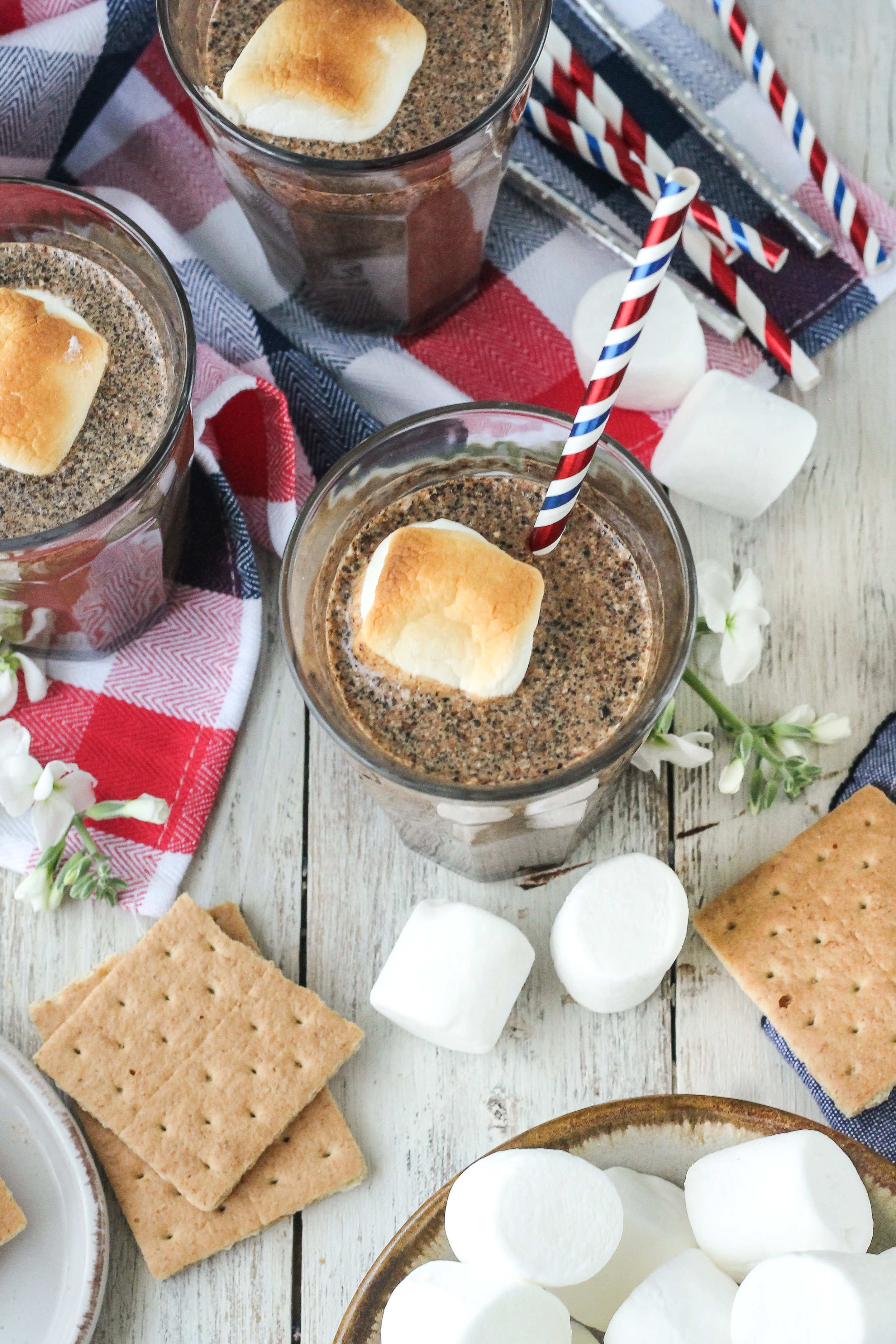 When the s'mores cravings are strong but there isn't a campfire in sight, s'mores milkshakes are the perfect solution! Find the super simple 5-ingredient recipe on WWW.PEDANTICFOODIE.COM!