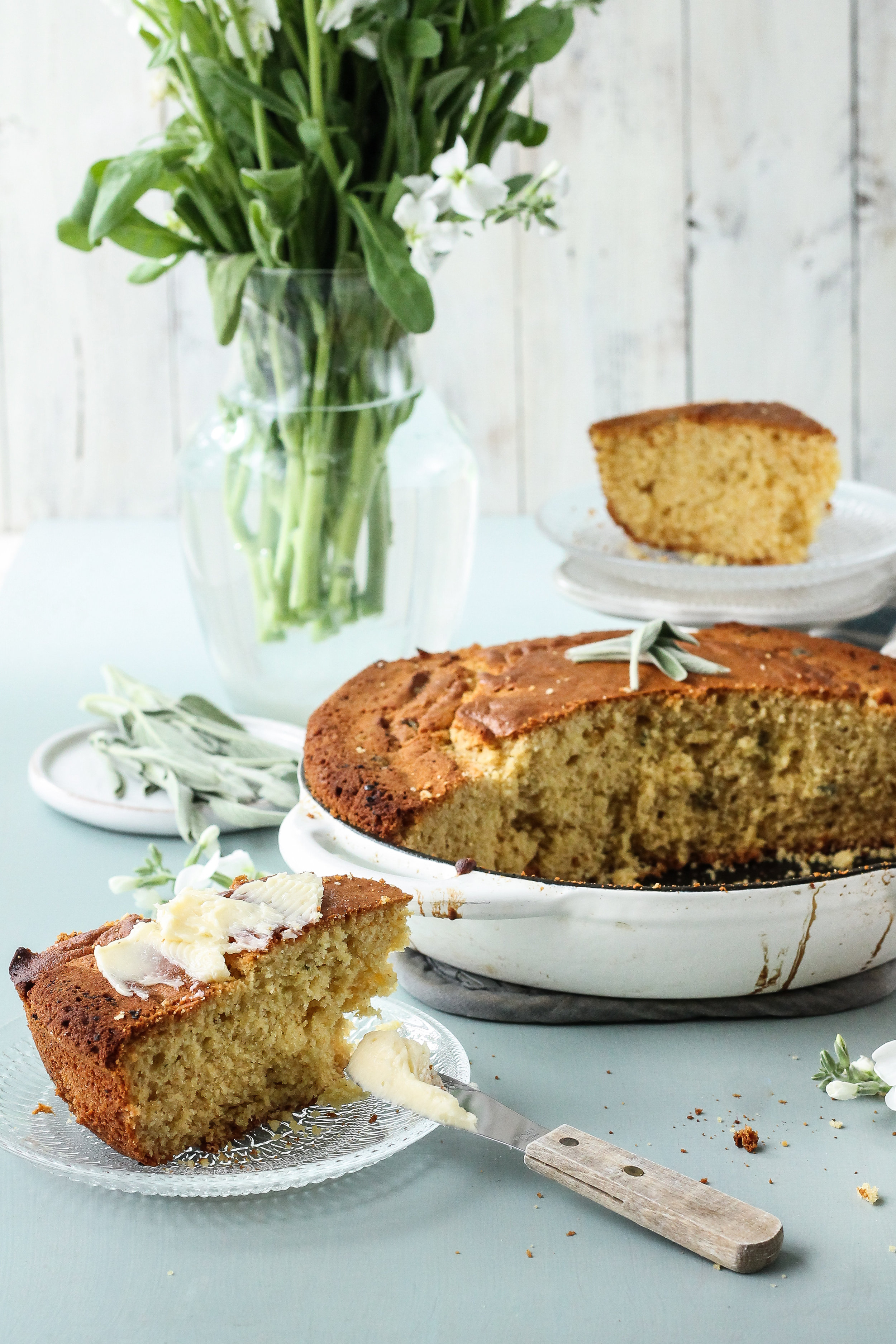 This sage & brown butter cornbread is a total game changer and it's just dying to buddy-up with your favorite fried chicken.  Find the recipe on WWW.PEDANTICFOODIE.COM!