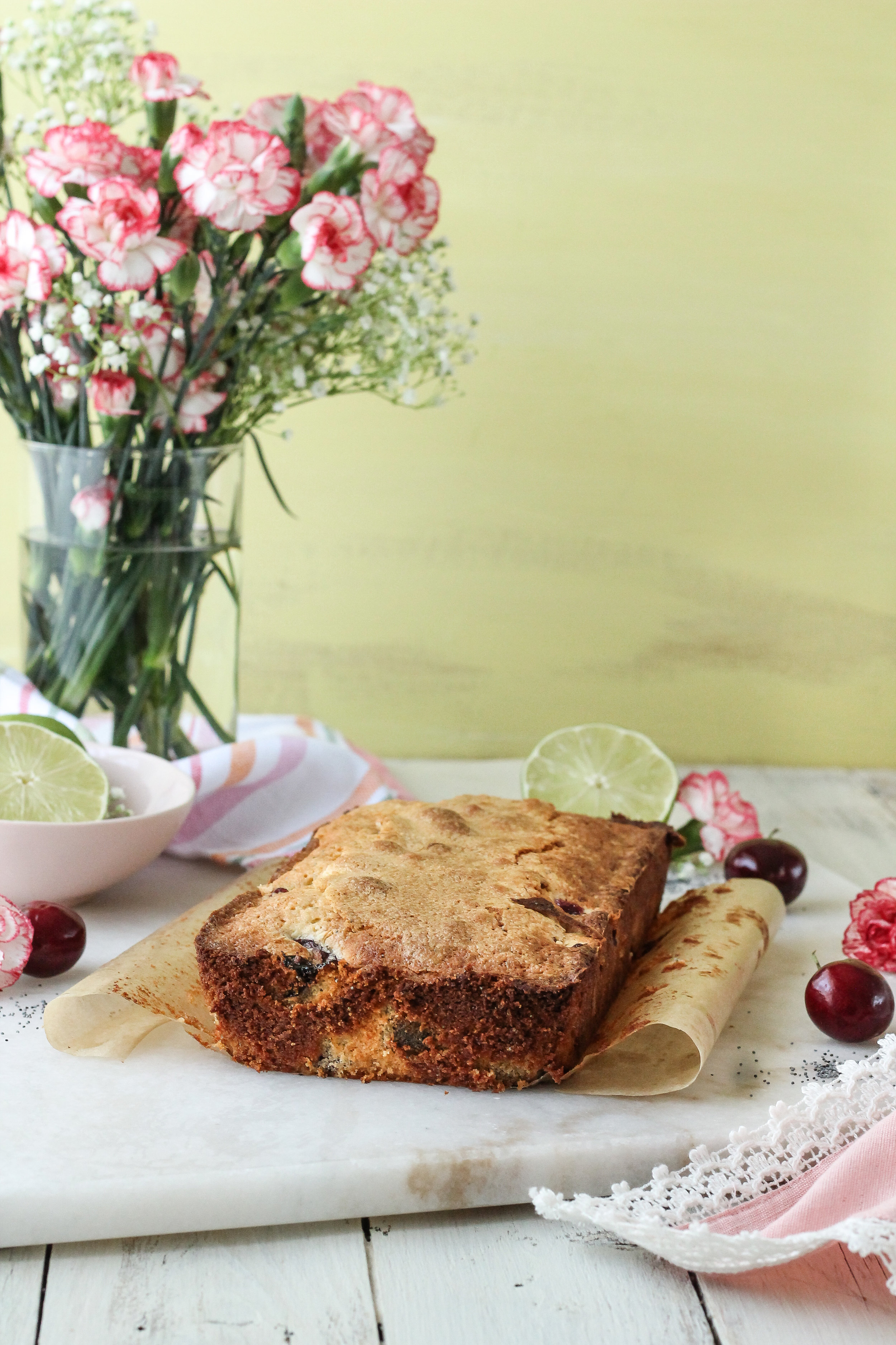 Bake something that all of your friends can enjoy with this super simple Gluten-Free Cherry Poppyseed Cake with Fresh Lime Glaze!!  Find this recipe and so many more on www.pedanticfoodie.com!