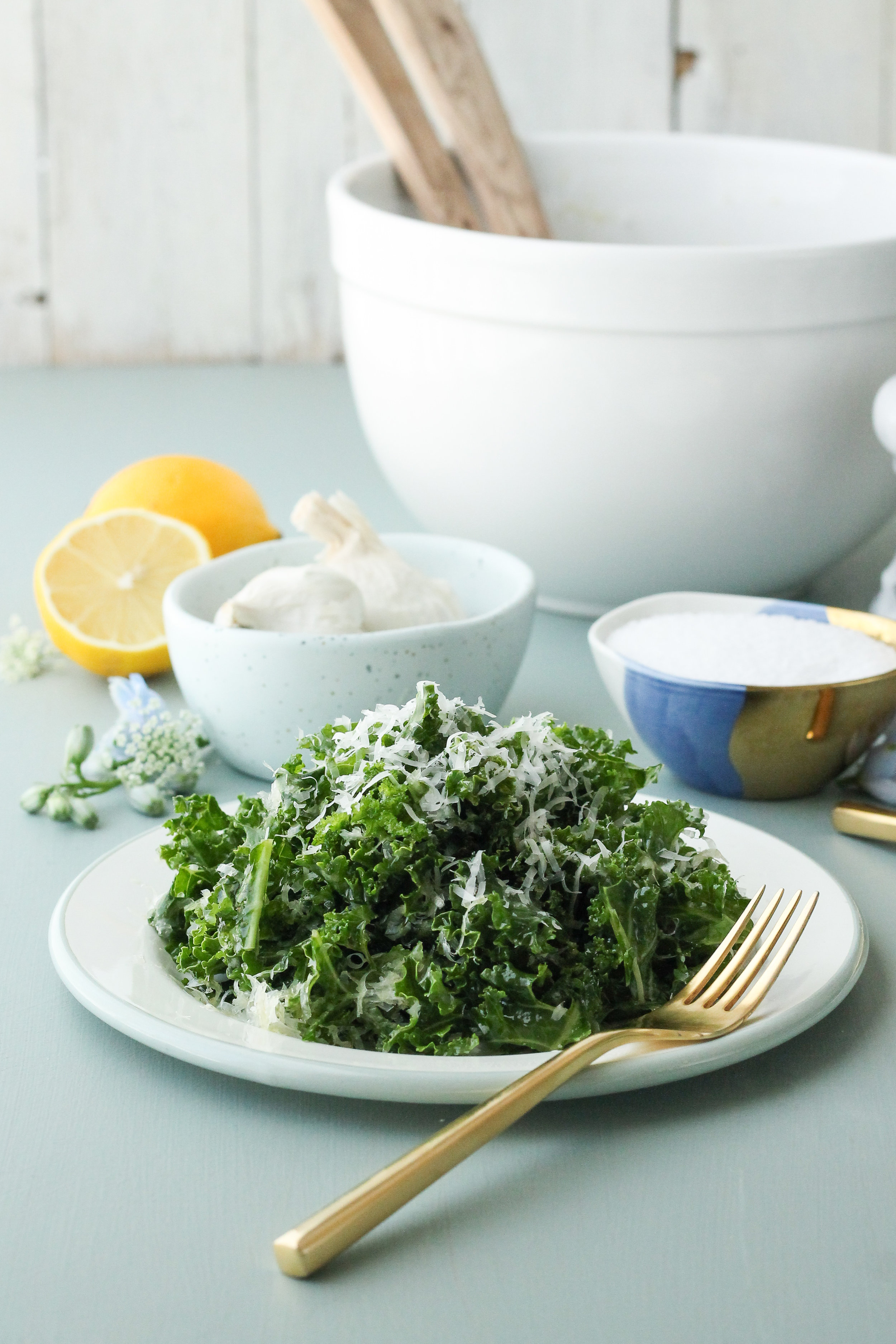This Kale Salad with Spicy Garlic & Lemon Vinaigrette is the ultimate, serve-with-anything side dish!  It's fresh, healthful, and seriously addicting.  Find the recipe on WWW.PEDANTICFOODIE.COM!
