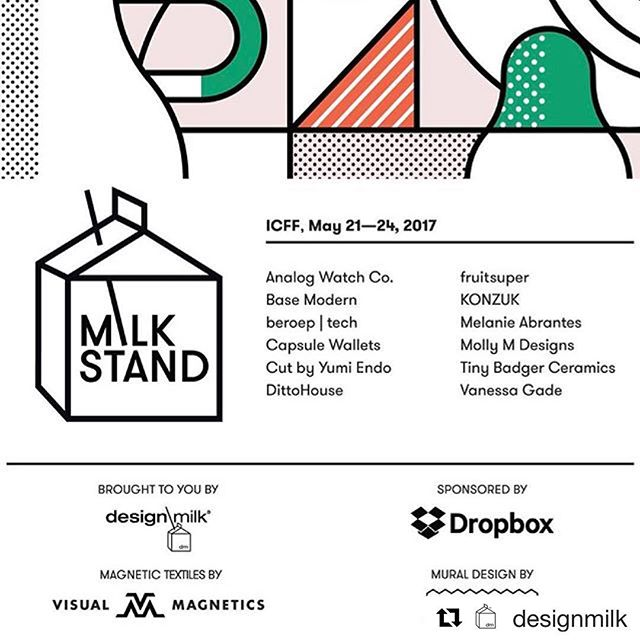 #Repost @designmilk with @repostapp ・・・ Have you marked your calendars yet? The #DMMilkStand will be returning to this year's @icff_nyc from May 21-24th! If you need your fix of #moderndesign, our booth #105 is the best place to get it. Special thanks to our sponsor @Dropbox Paper for bringing the Milk Stand to life!