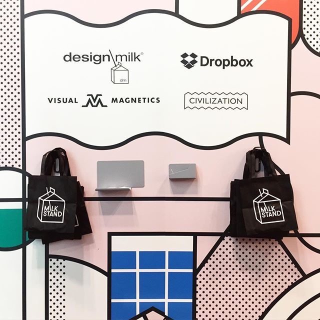 #designmilk tote bags are disappearing fast. Last day with #dmmilkstand @icff_nyc ! Come visit us at booth #105  @tinybadgerceramics @capsule @dittohouse_ @yumiendo @vanessagade @visualmagnetics @designmilk @dropbox #tradeshow #icff_nyc #icff2017 #DMMilkStand #moderndesign #artisan #americanmade #makers #nycxdesign