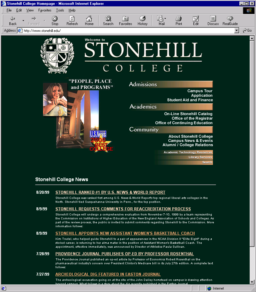 Ancient History (1993-2000) - Get ready for a ride on the way-back machine with web site designs from the 90s!