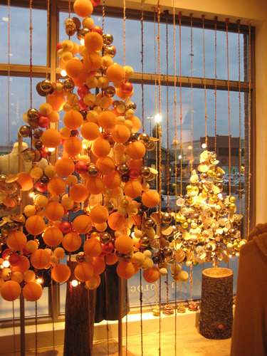 A shot of the trees from inside the store. I tried to make them  look as good from the inside as they did from the outside, since  customers could see them from the back.  These windows were my first major project at Anthro, but they remain among the highlights of my time there.