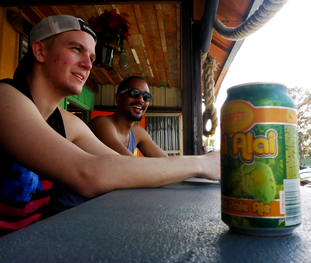 Rob Cato enjoying his beer after the  paddleboard tour