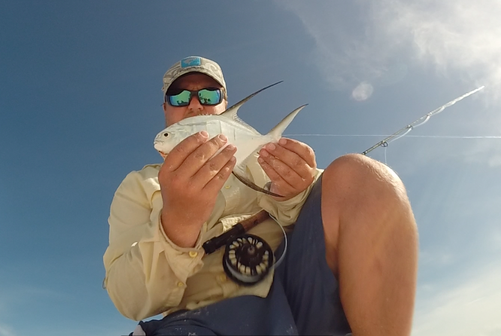 A Jack Palometa caught in the surf- photo by Trey Dyer