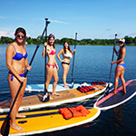 paddleboarding with friends on Lake Ivanhoe in Orlando Florida
