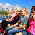 Kids enjoying airboat ride