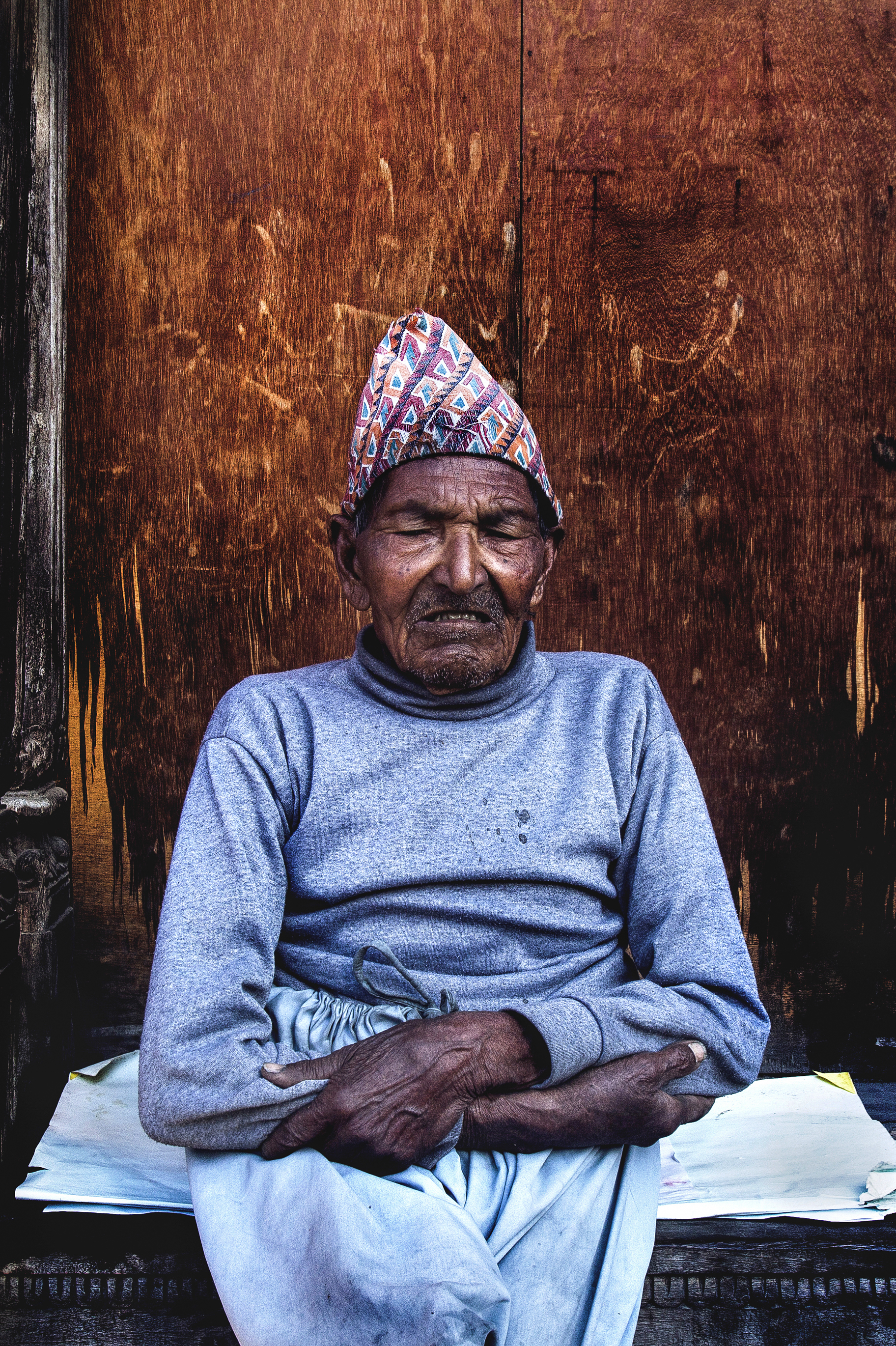 A blind man from Briddhashram home for the elderly, situated next to Pashupatinath, Kathmandu, Nepal.