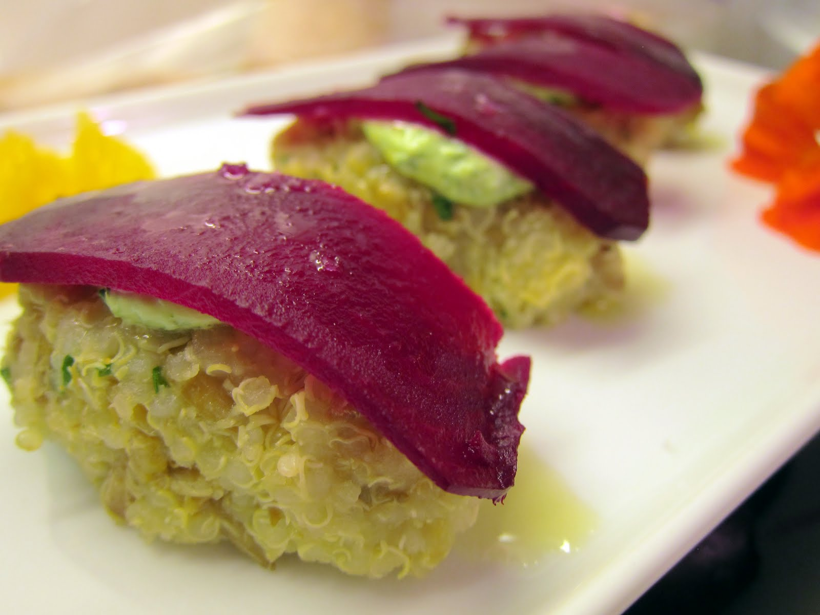 "beet ""sushi"" on quinoa at the wine hour Cobbler's Walk Mendocino"
