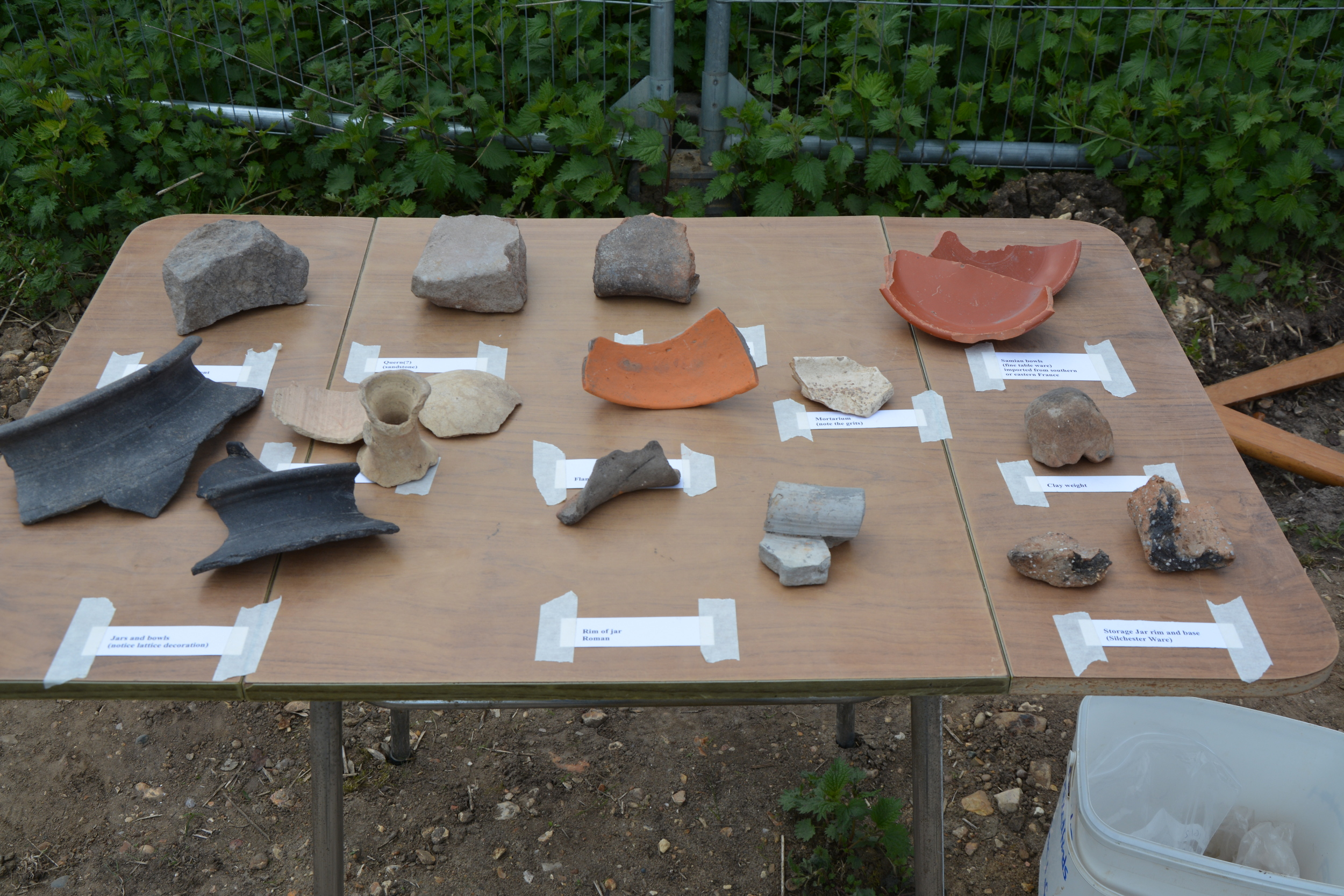 Finds table for open day offering a tactile experience for visitors
