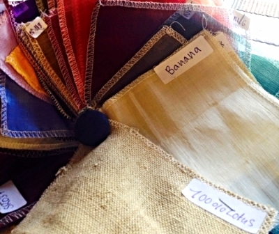 The banana and lotus textiles that arrived today.