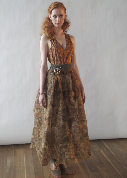Image of the silk cocoon skirt from the FW11 presentation at NYFW