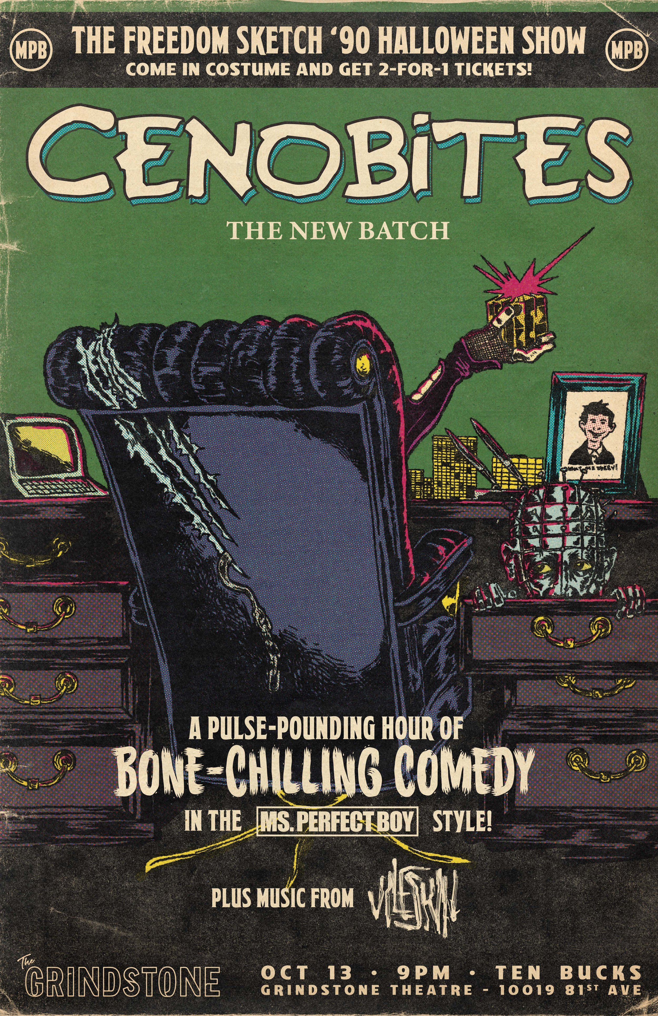 """Poster for our Halloween special """"Cenobites: The New Batch"""" (homage to both the Gremlins 2 poster and 50s horror comics)"""