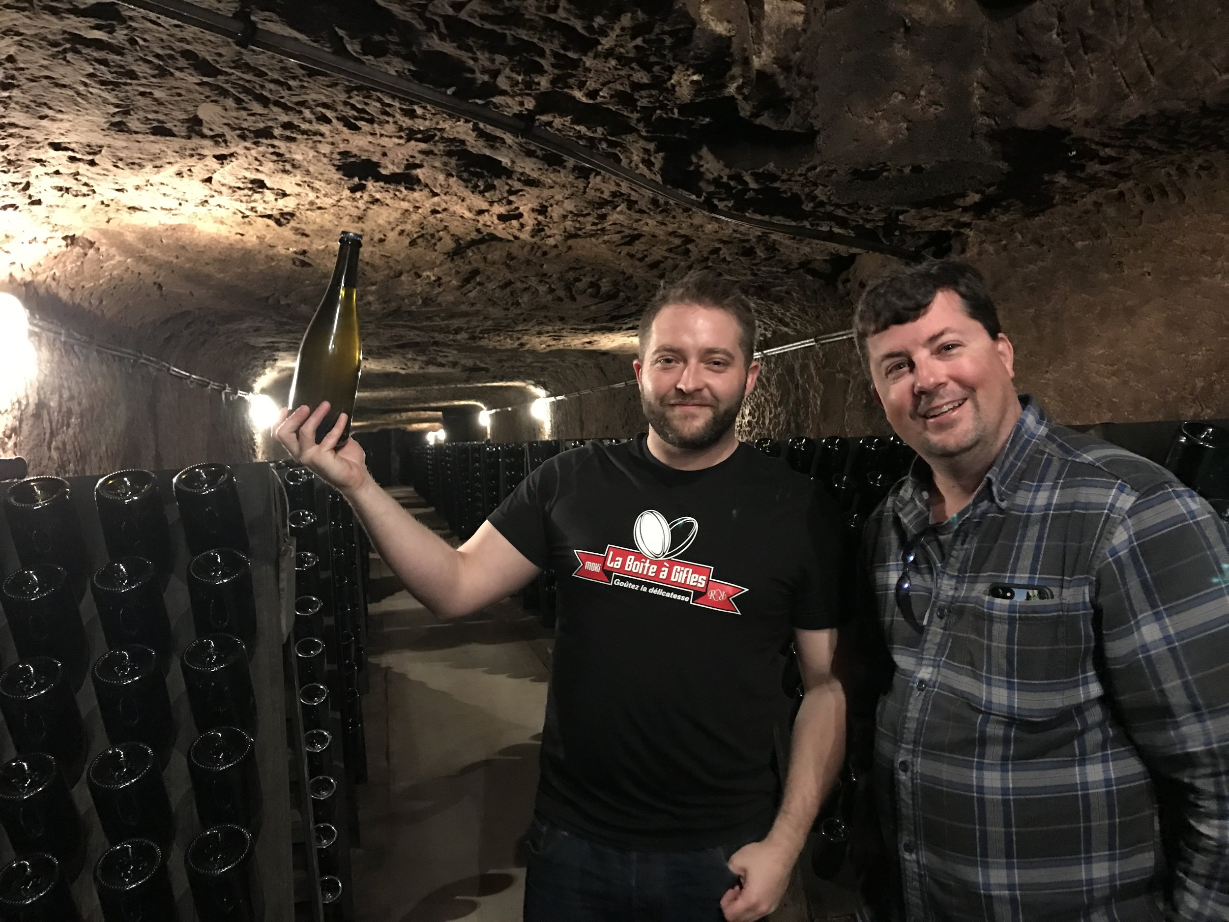 Jean and Jeff in the D.Huet sparkling wine cave