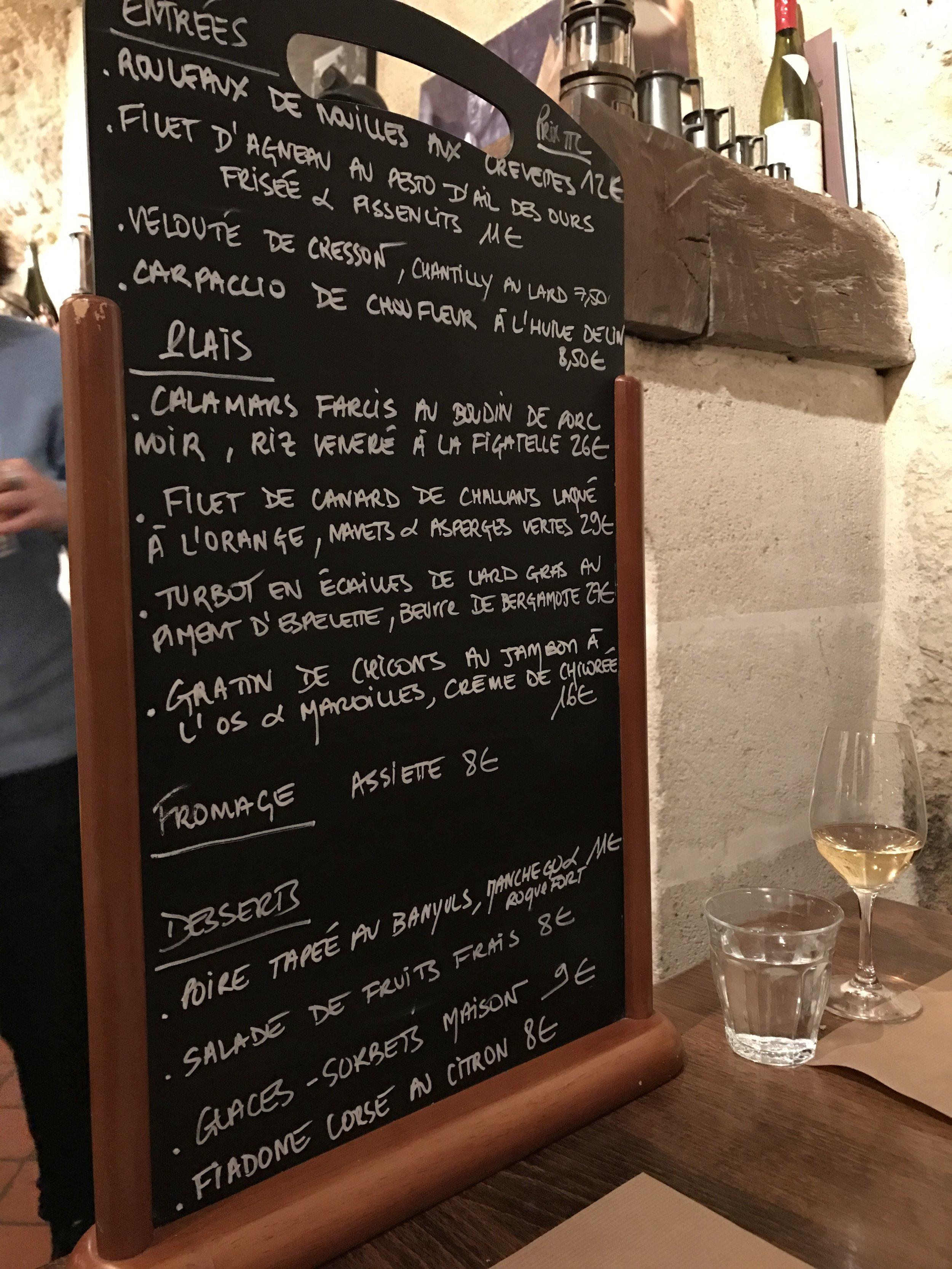 The menu du jour at Les Gueules Noires