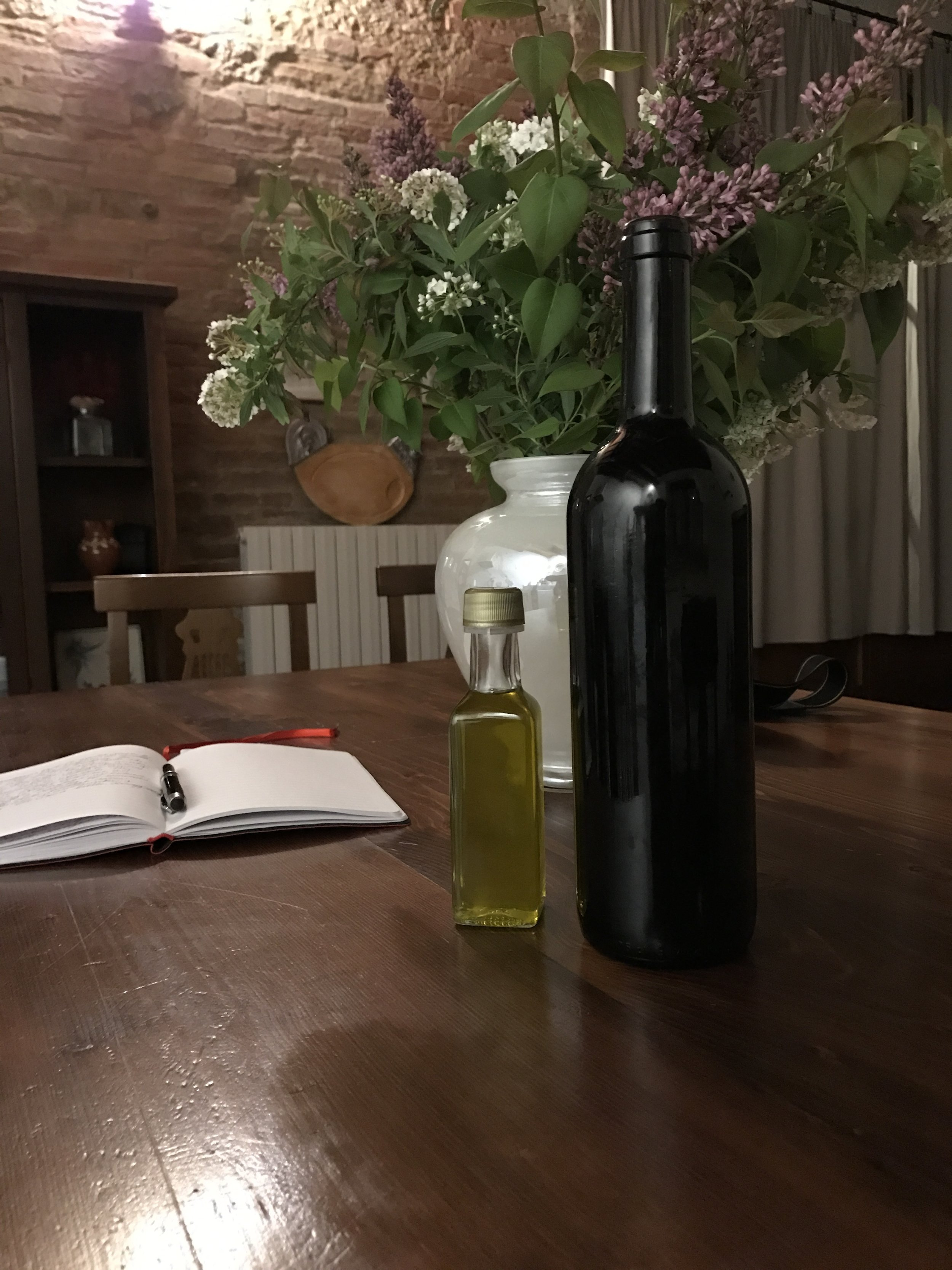 Travel journal, Terra Rossa olive oil and a bottle of home-made Sangiovese