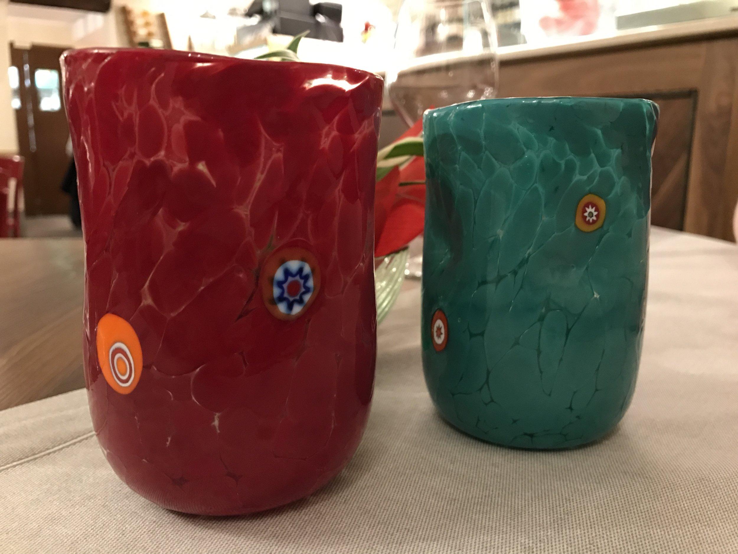 Murano-made water glasses. Beautiful and functional!