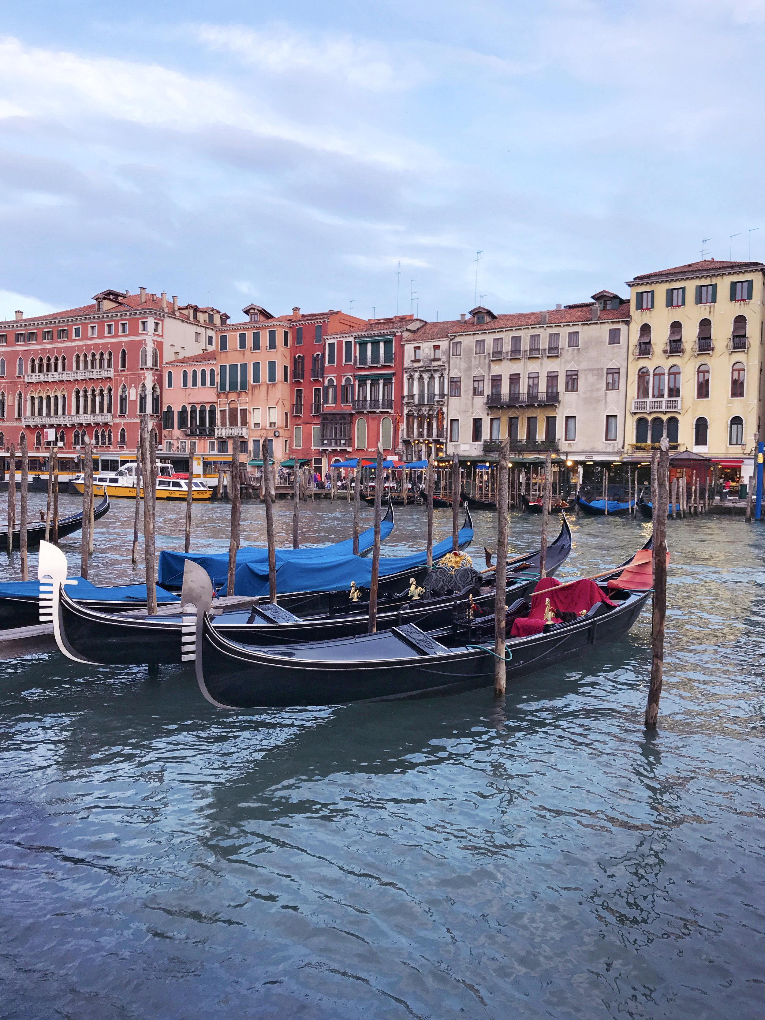 Gondolas along the Grand Canal, Venezia