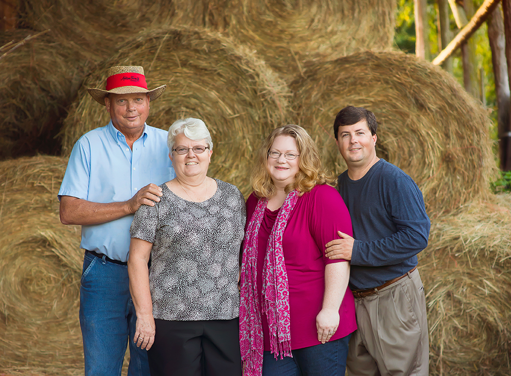 Meet the Family - The vineyard has been family owned and operated since its inception in 2009. The property has been in Maleada's family since 1937 when her father, Addison and his parents moved here. Pictured: Eddie, Maleada, Dianne and Jeff Frisbee