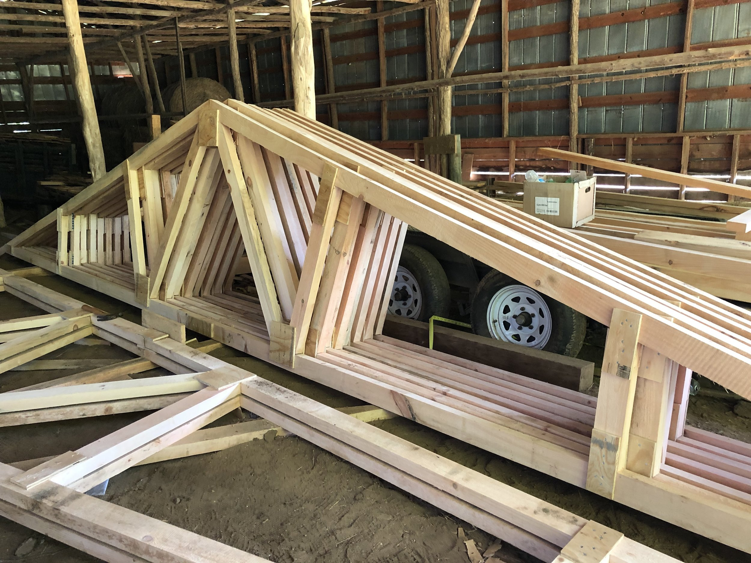 The first few roof trusses